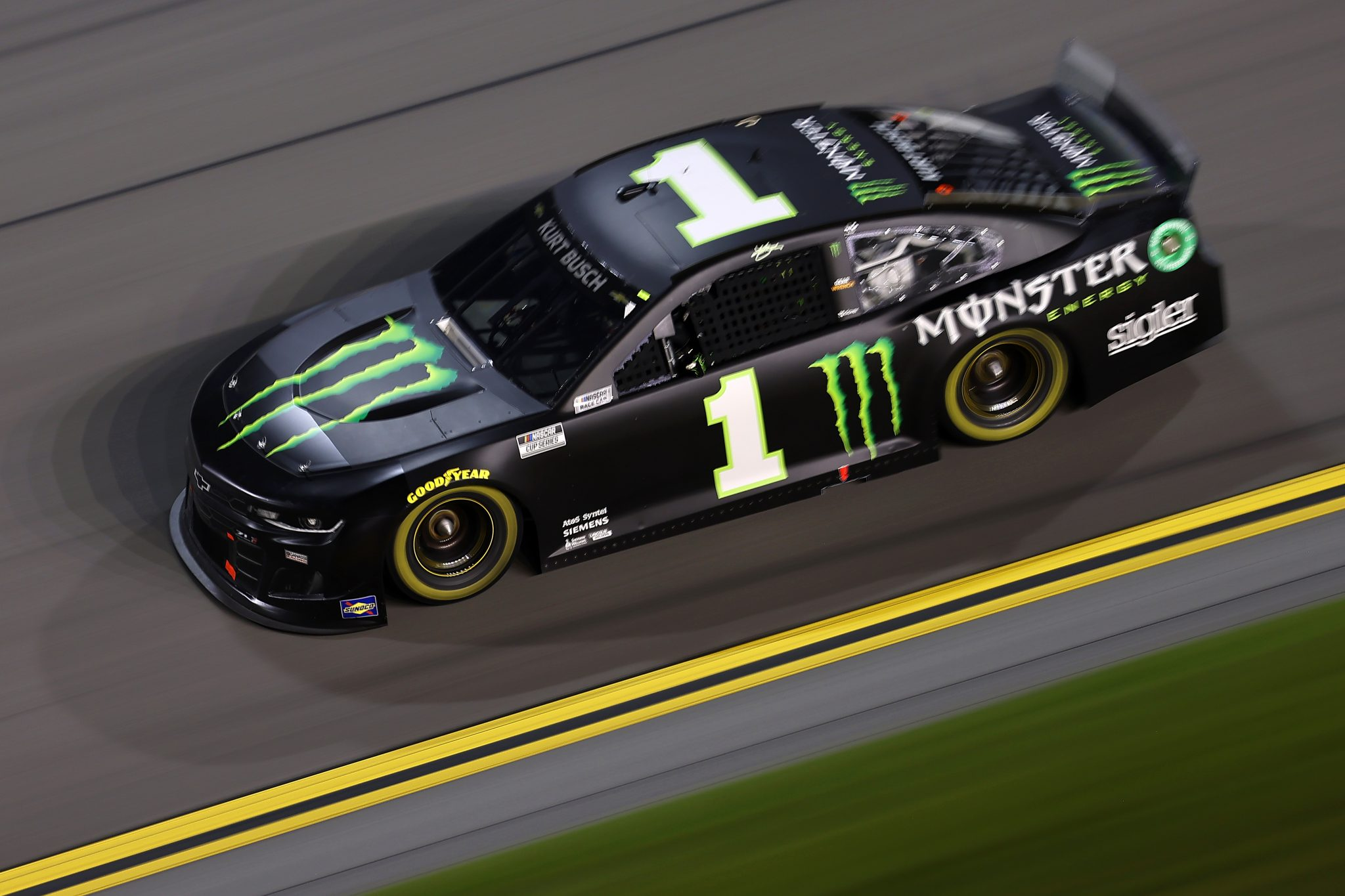 DAYTONA BEACH, FLORIDA - AUGUST 28: Kurt Busch, driver of the #1 Monster Energy Chevrolet, drives during the NASCAR Cup Series Coke Zero Sugar 400 at Daytona International Speedway on August 28, 2021 in Daytona Beach, Florida. (Photo by James Gilbert/Getty Images) | Getty Images