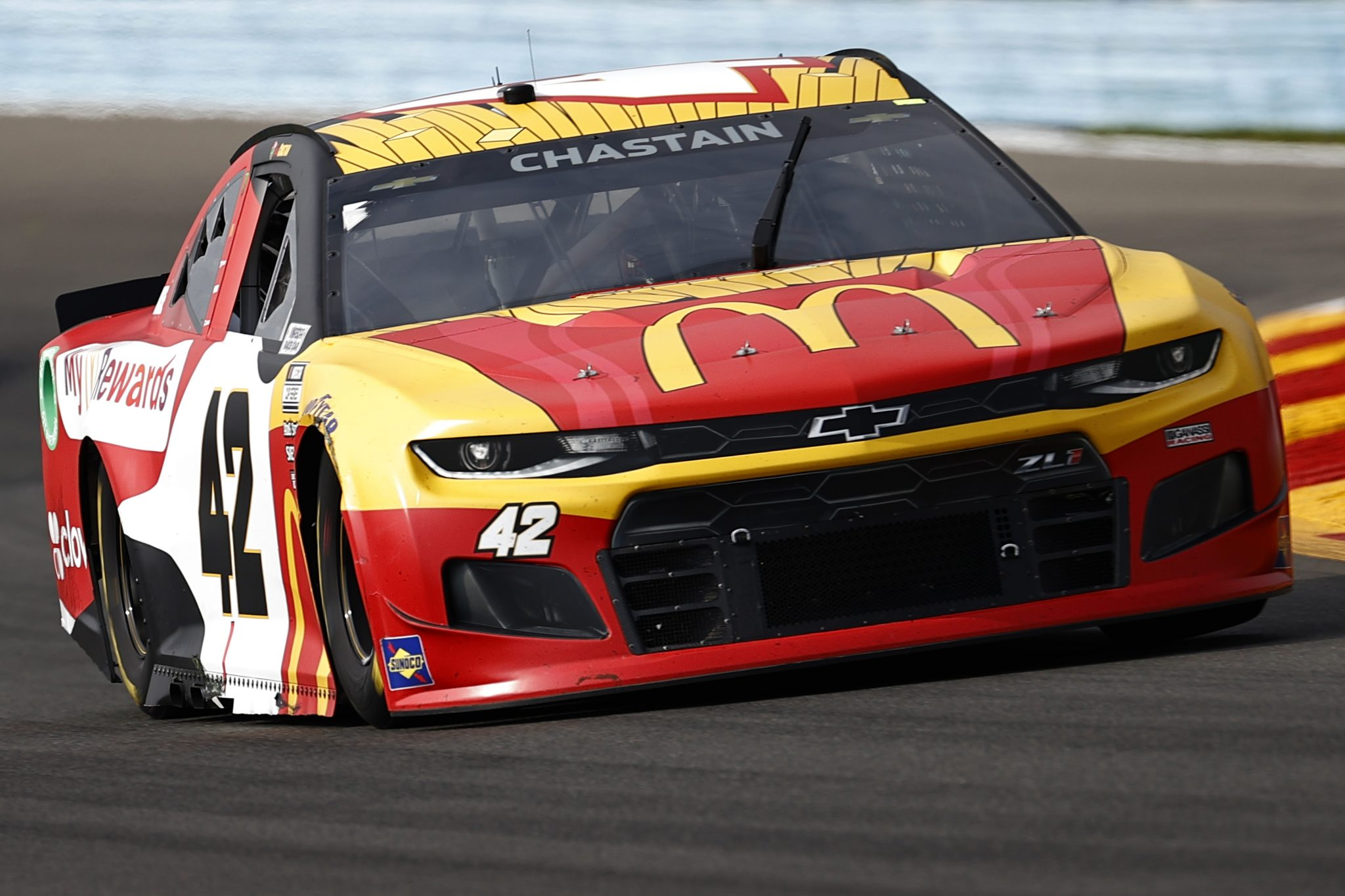 WATKINS GLEN, NEW YORK - AUGUST 08: Ross Chastain, driver of the #42 MyMcDonald's Rewards Chevrolet, drives during the NASCAR Cup Series Go Bowling at The Glen at Watkins Glen International on August 08, 2021 in Watkins Glen, New York. (Photo by Jared C. Tilton/Getty Images) | Getty Images