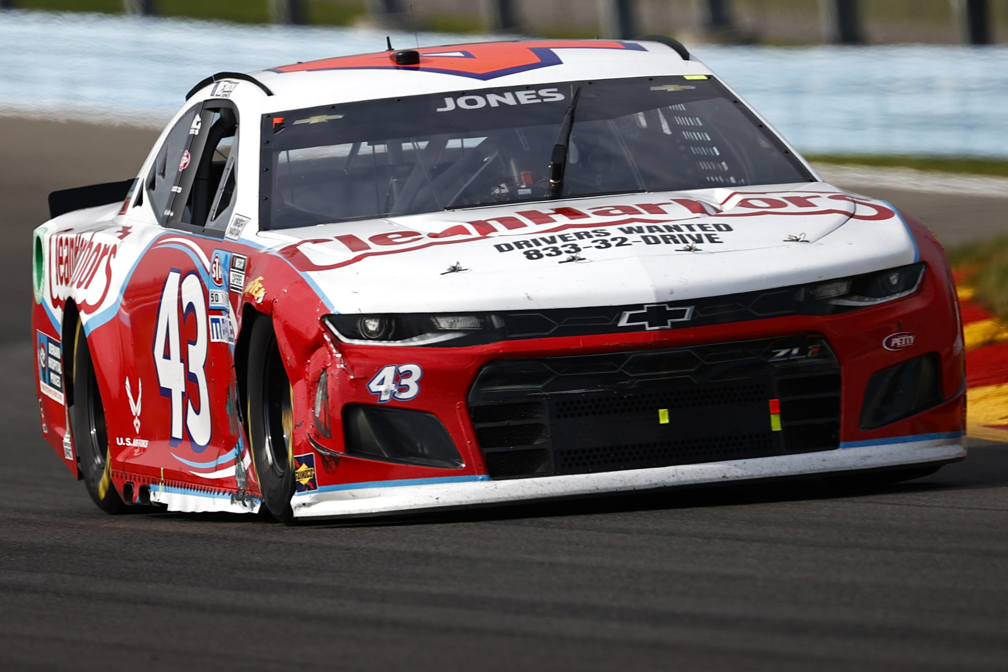 WATKINS GLEN, NEW YORK - AUGUST 08: Erik Jones, driver of the #43 Clean Harbors Chevrolet, drives during the NASCAR Cup Series Go Bowling at The Glen at Watkins Glen International on August 08, 2021 in Watkins Glen, New York. (Photo by Jared C. Tilton/Getty Images)   Getty Images