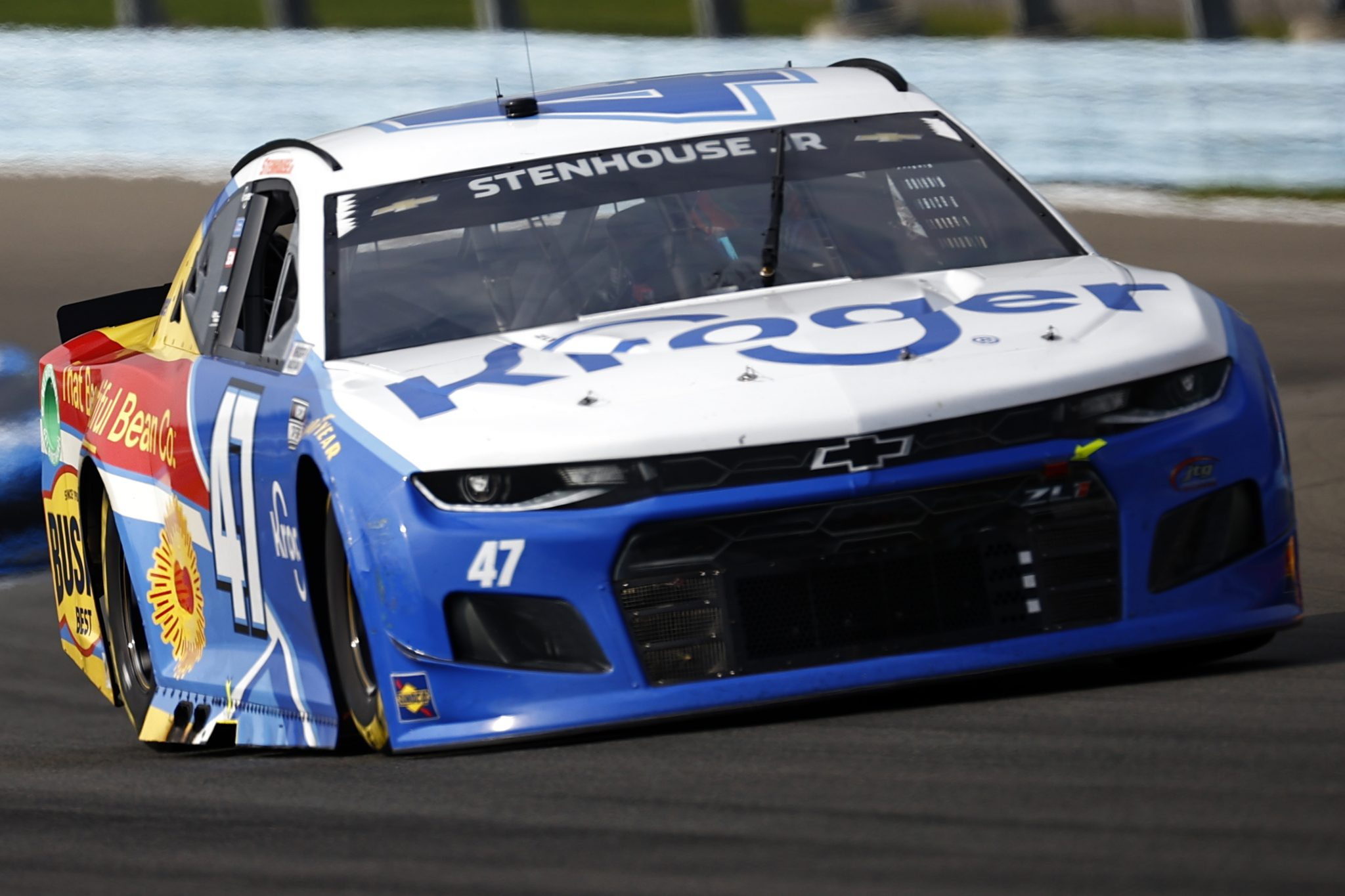 WATKINS GLEN, NEW YORK - AUGUST 08: Ricky Stenhouse Jr., driver of the #47 Kroger/Bush's Beans Chevrolet, drives during the NASCAR Cup Series Go Bowling at The Glen at Watkins Glen International on August 08, 2021 in Watkins Glen, New York. (Photo by Jared C. Tilton/Getty Images)   Getty Images