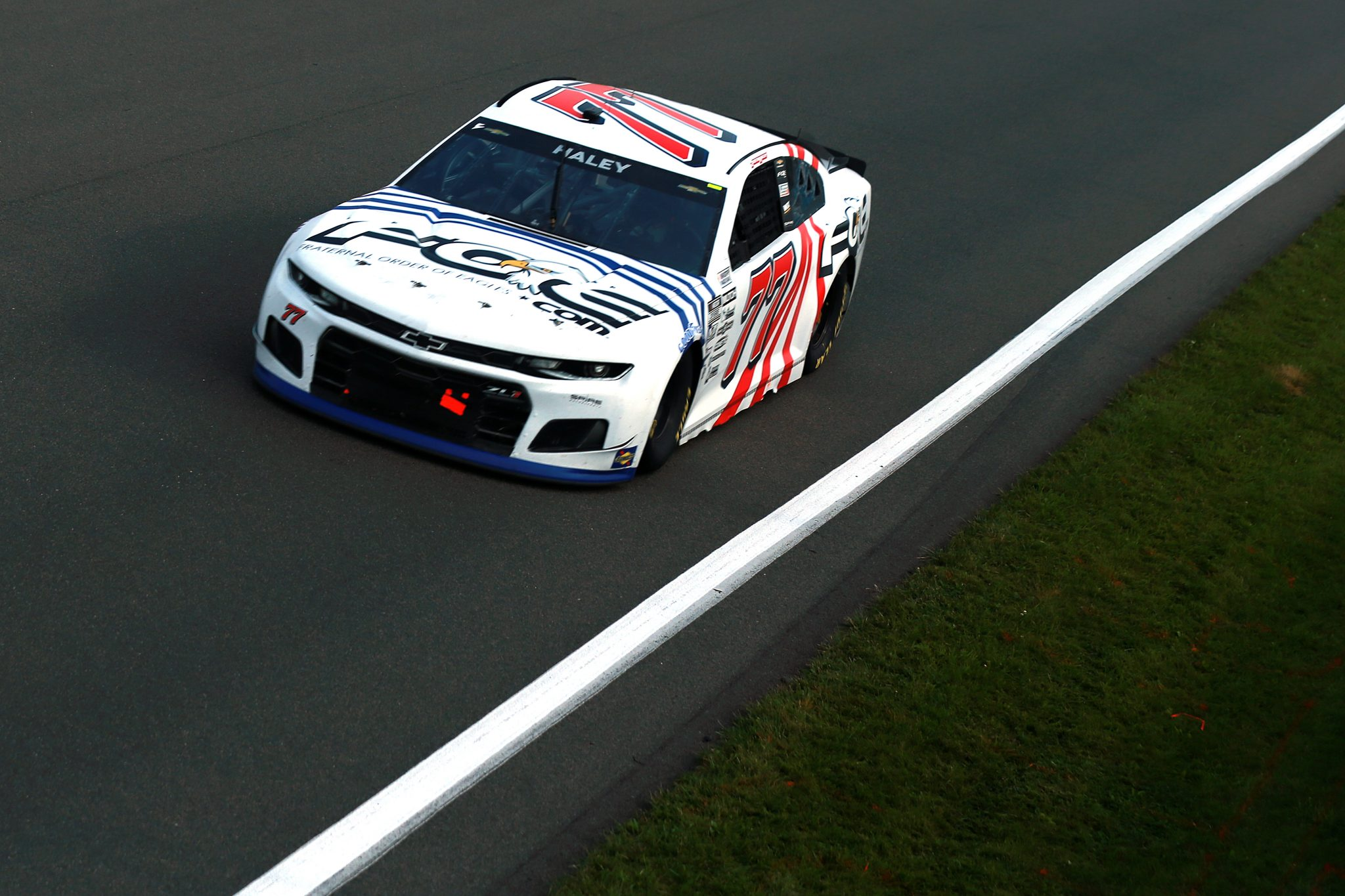 WATKINS GLEN, NEW YORK - AUGUST 08: Justin Haley, driver of the #77 Fraternal Order of Eagles Chevrolet, drives during the NASCAR Cup Series Go Bowling at The Glen at Watkins Glen International on August 08, 2021 in Watkins Glen, New York. (Photo by Sean Gardner/Getty Images) | Getty Images