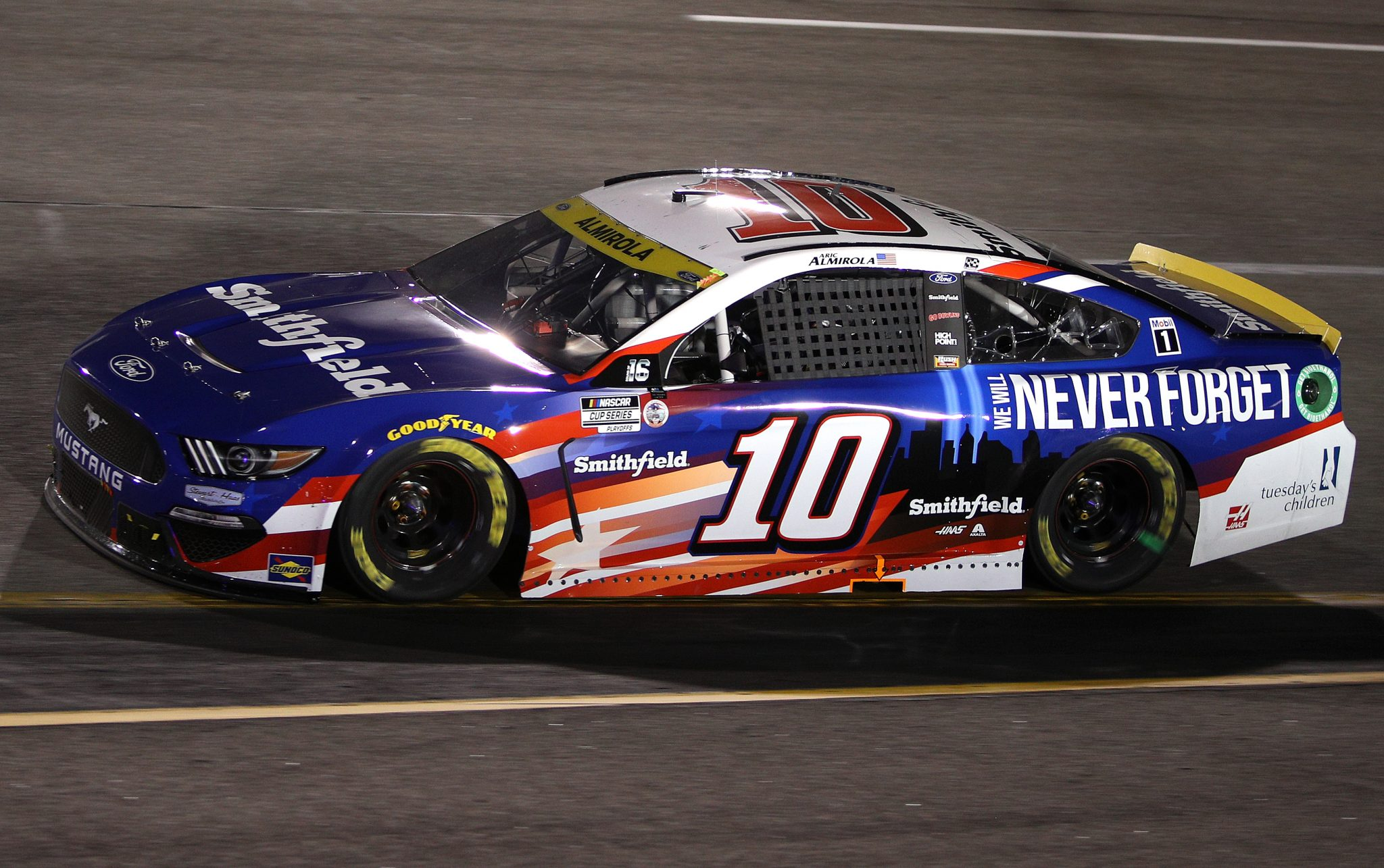 RICHMOND, VIRGINIA - SEPTEMBER 11: Aric Almirola, driver of the #10 Smithfield/Tuesday's Children Ford, drives during the NASCAR Cup Series Federated Auto Parts 400 Salute to First Responders at Richmond Raceway on September 11, 2021 in Richmond, Virginia. (Photo by Sean Gardner/Getty Images)   Getty Images