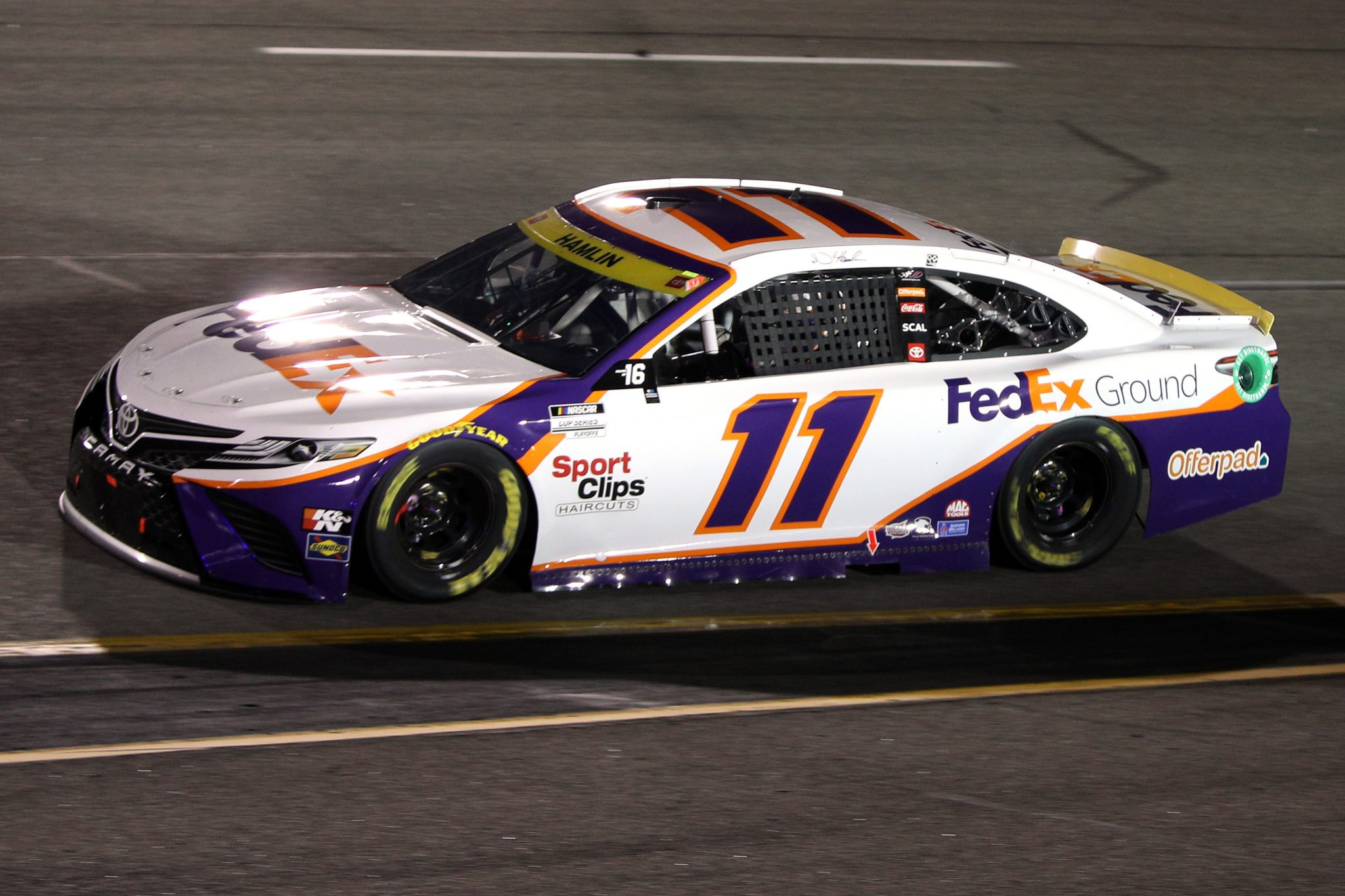 RICHMOND, VIRGINIA - SEPTEMBER 11: Denny Hamlin, driver of the #11 FedEx Ground Toyota, drives during the NASCAR Cup Series Federated Auto Parts 400 Salute to First Responders at Richmond Raceway on September 11, 2021 in Richmond, Virginia. (Photo by Sean Gardner/Getty Images)   Getty Images