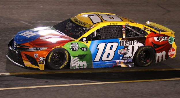 RICHMOND, VIRGINIA - SEPTEMBER 11: Kyle Busch, driver of the #18 M&M's Toyota, drives during the NASCAR Cup Series Federated Auto Parts 400 Salute to First Responders at Richmond Raceway on September 11, 2021 in Richmond, Virginia. (Photo by Sean Gardner/Getty Images) | Getty Images