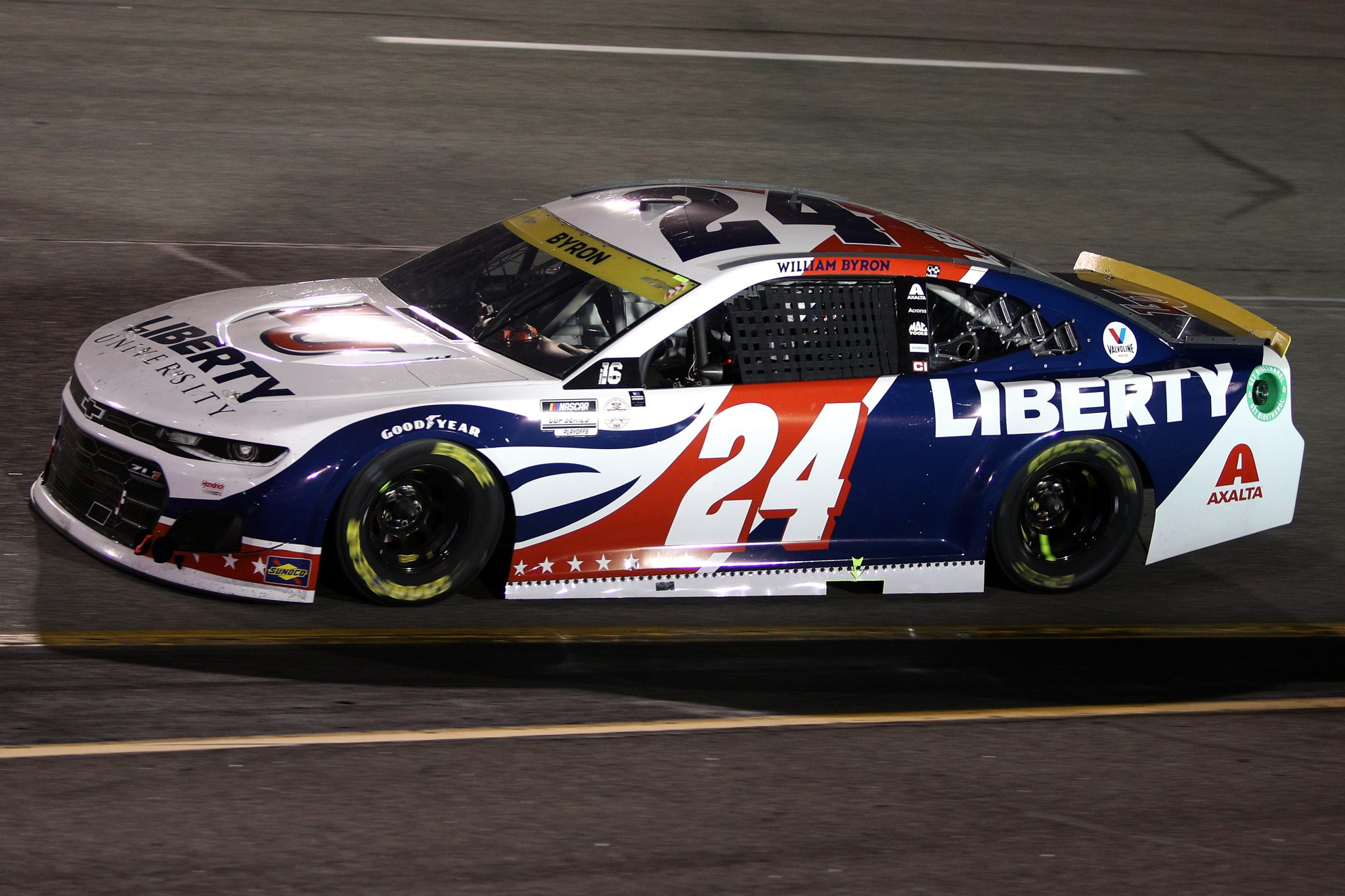 RICHMOND, VIRGINIA - SEPTEMBER 11: William Byron, driver of the #24 Liberty University Chevrolet, drives during the NASCAR Cup Series Federated Auto Parts 400 Salute to First Responders at Richmond Raceway on September 11, 2021 in Richmond, Virginia. (Photo by Sean Gardner/Getty Images)   Getty Images