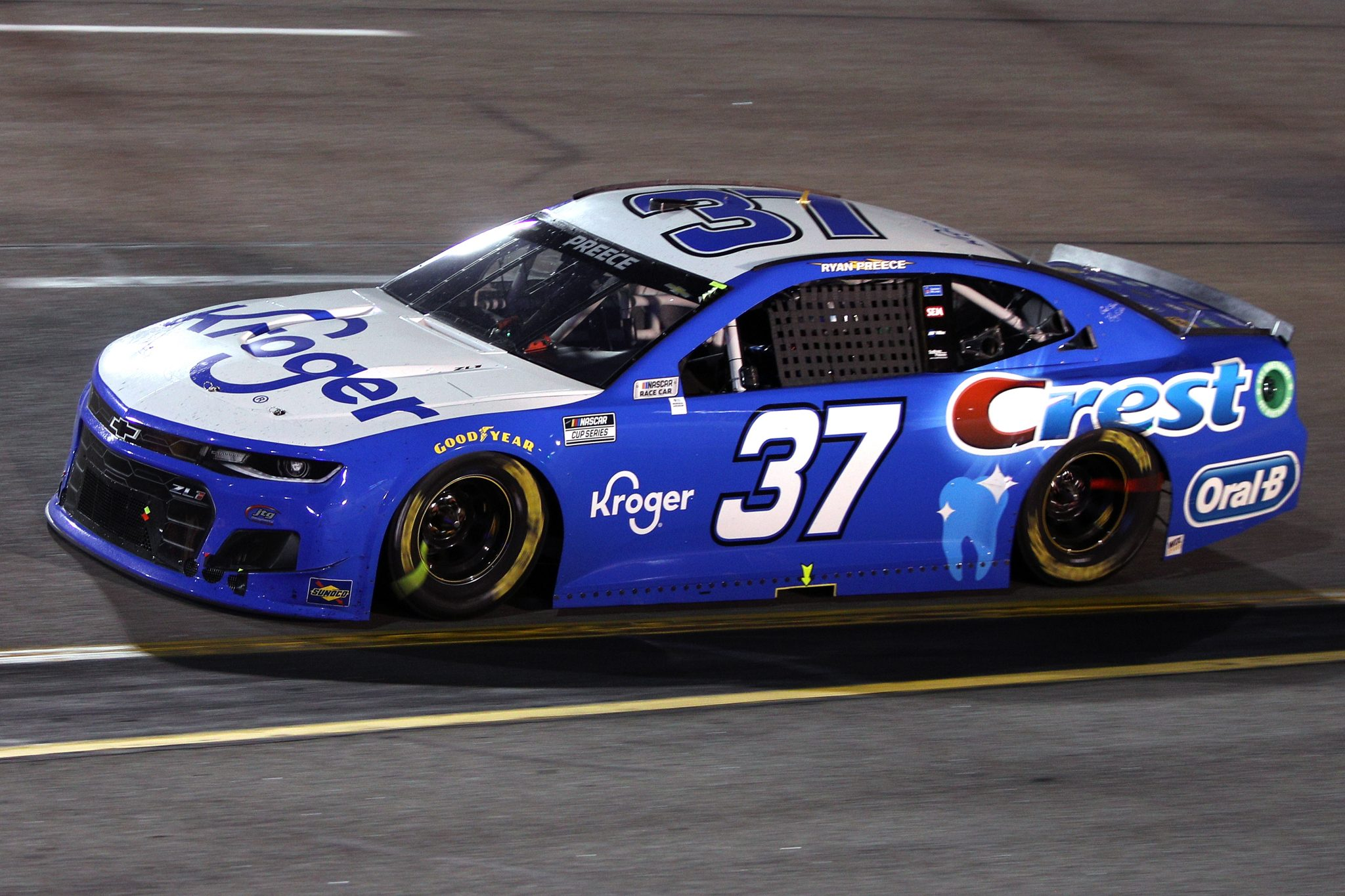 RICHMOND, VIRGINIA - SEPTEMBER 11: Ryan Preece, driver of the #37 Kroger/Crest Chevrolet, drives during the NASCAR Cup Series Federated Auto Parts 400 Salute to First Responders at Richmond Raceway on September 11, 2021 in Richmond, Virginia. (Photo by Sean Gardner/Getty Images) | Getty Images