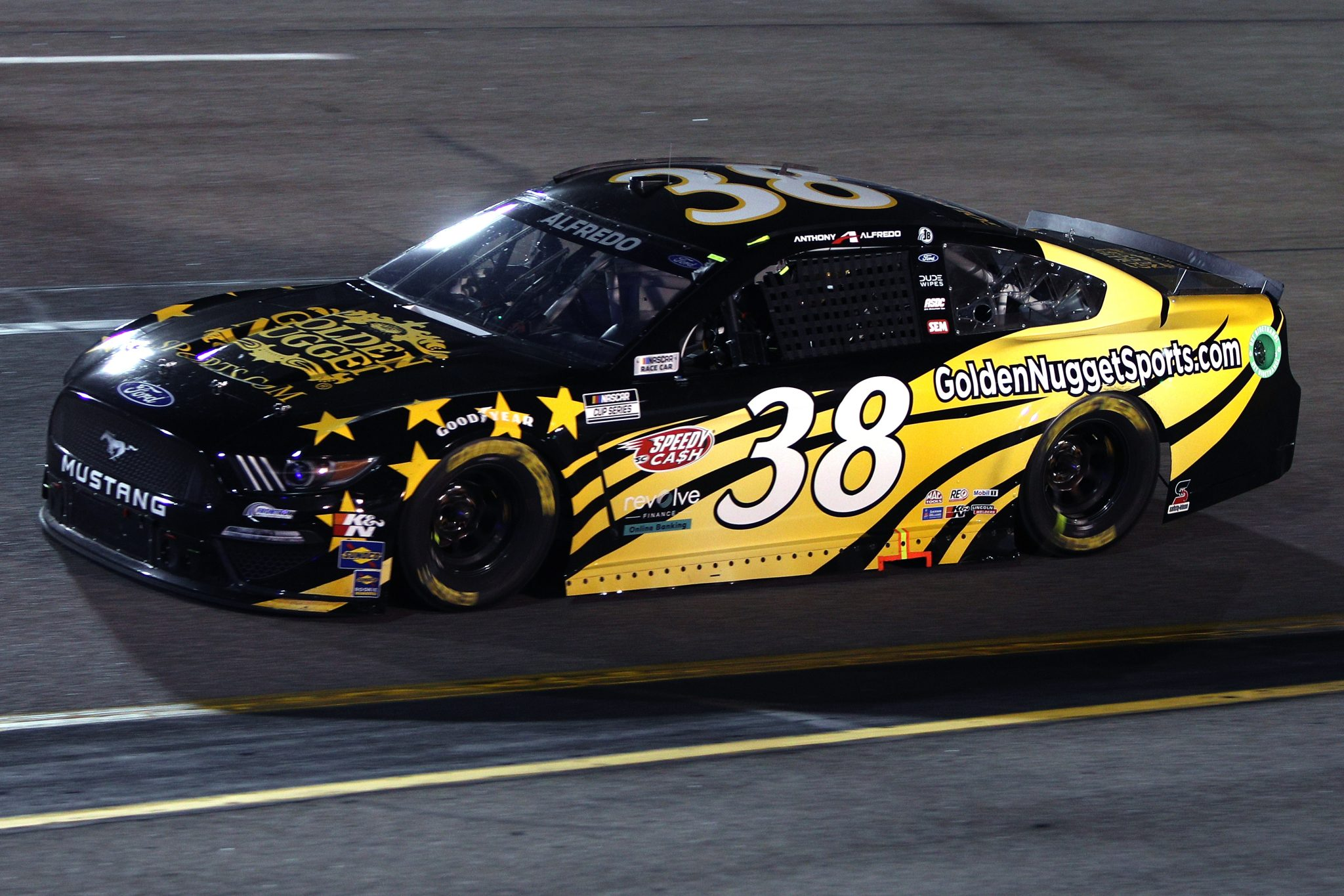 RICHMOND, VIRGINIA - SEPTEMBER 11: Anthony Alfredo, driver of the #38 GoldenNuggetSports.com Ford, drives during the NASCAR Cup Series Federated Auto Parts 400 Salute to First Responders at Richmond Raceway on September 11, 2021 in Richmond, Virginia. (Photo by Sean Gardner/Getty Images)   Getty Images