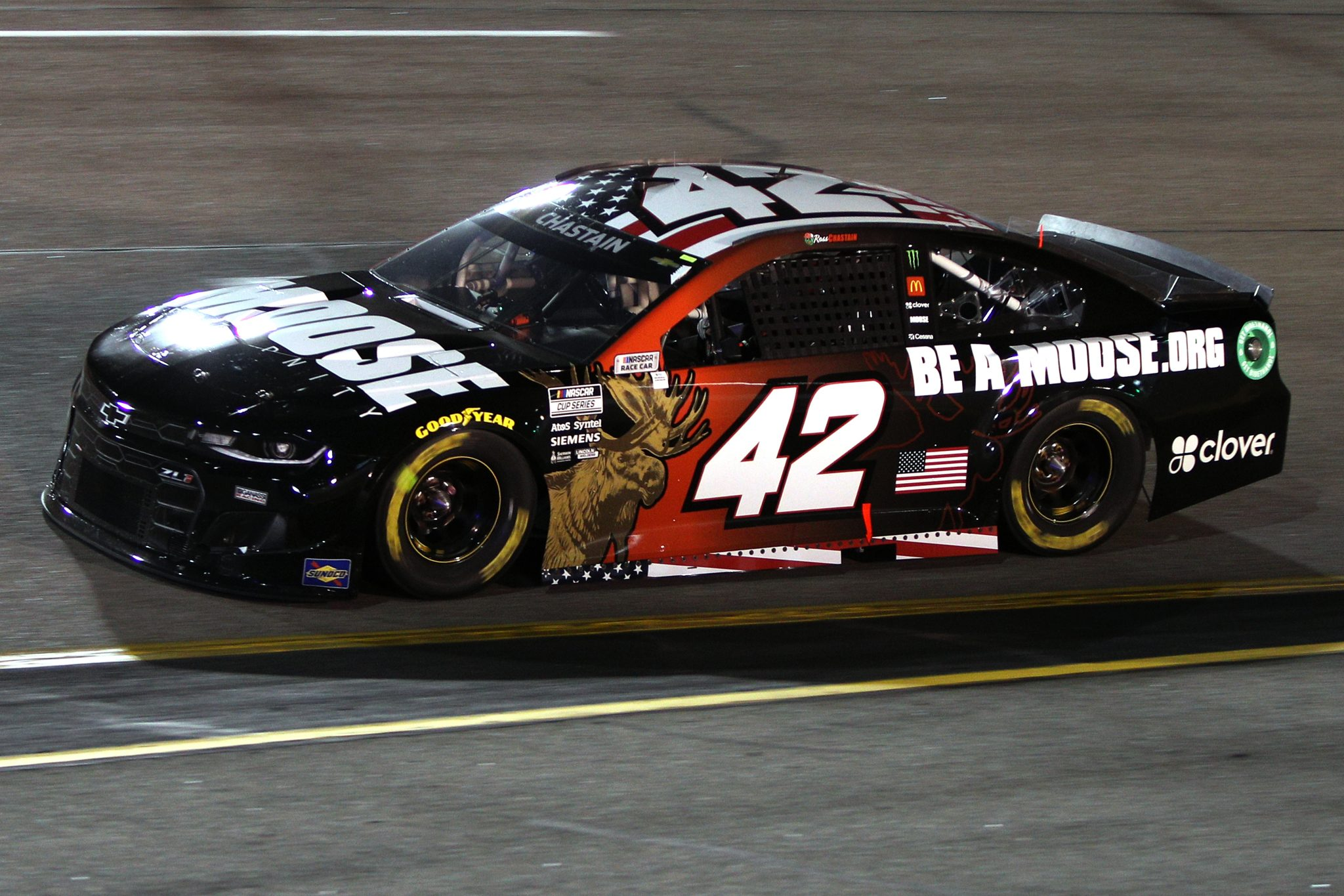 RICHMOND, VIRGINIA - SEPTEMBER 11: Ross Chastain, driver of the #42 Moose Fraternity Chevrolet, drives during the NASCAR Cup Series Federated Auto Parts 400 Salute to First Responders at Richmond Raceway on September 11, 2021 in Richmond, Virginia. (Photo by Sean Gardner/Getty Images) | Getty Images