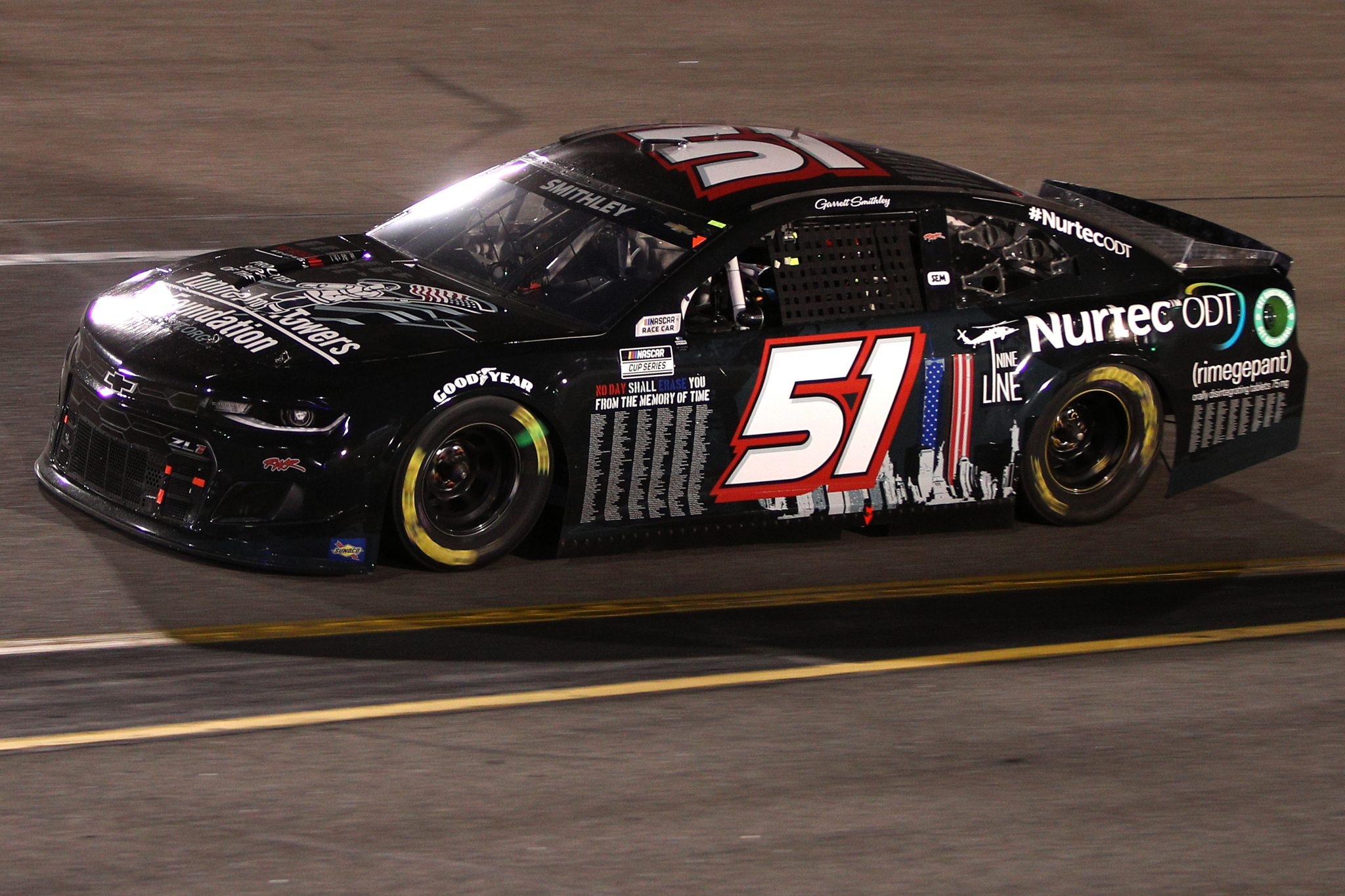 RICHMOND, VIRGINIA - SEPTEMBER 11: Garrett Smithley, driver of the #51 9/11 Scheme Chevrolet, drives during the NASCAR Cup Series Federated Auto Parts 400 Salute to First Responders at Richmond Raceway on September 11, 2021 in Richmond, Virginia. (Photo by Sean Gardner/Getty Images) | Getty Images