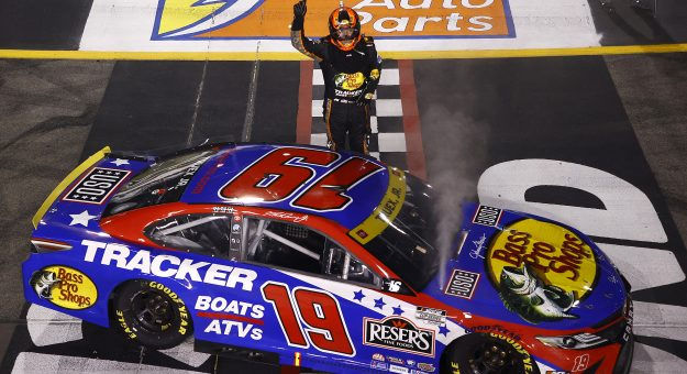 RICHMOND, VIRGINIA - SEPTEMBER 11: Martin Truex Jr., driver of the #19 Bass Pro Shops Red White Blue Toyota, celebrates after winning the NASCAR Cup Series Federated Auto Parts 400 Salute to First Responders at Richmond Raceway on September 11, 2021 in Richmond, Virginia. (Photo by Jared C. Tilton/Getty Images) | Getty Images