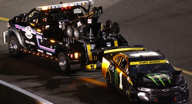RICHMOND, VIRGINIA - SEPTEMBER 11: Kurt Busch, driver of the #1 Monster Energy Chevrolet, is towed by the NASCAR Safety Crew after an on-track incident during the NASCAR Cup Series Federated Auto Parts 400 Salute to First Responders at Richmond Raceway on September 11, 2021 in Richmond, Virginia. (Photo by Jared C. Tilton/Getty Images) | Getty Images