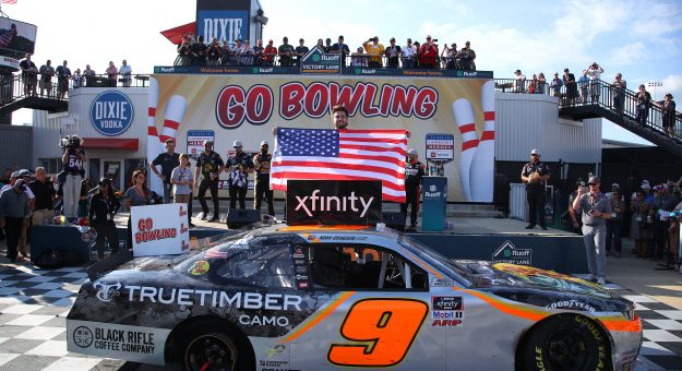 RICHMOND, VIRGINIA - SEPTEMBER 11: Noah Gragson, driver of the #9 Bass Pro Shops/TrueTimber/BRCC Chevrolet, celebrates in the Ruoff Mortgage victory lane after winning the NASCAR Xfinity Series Go Bowling 250 at Richmond Raceway on September 11, 2021 in Richmond, Virginia. (Photo by Sean Gardner/Getty Images) | Getty Images