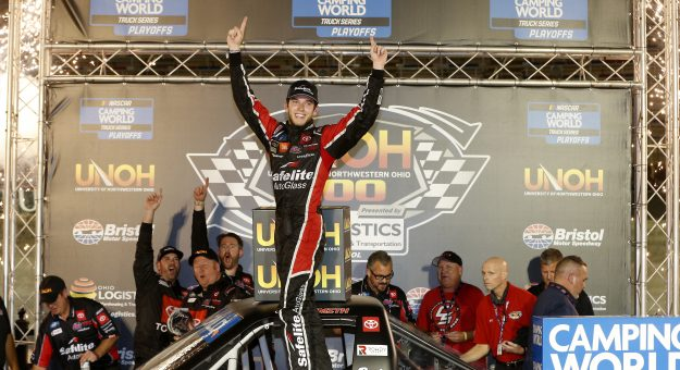 BRISTOL, TENNESSEE - SEPTEMBER 16: Chandler Smith, driver of the #18 Safelite AutoGlass Toyota, celebrates in victory lane after winning the NASCAR Camping World Truck Series UNOH 200 presented by Ohio Logistics at Bristol Motor Speedway on September 16, 2021 in Bristol, Tennessee. (Photo by Brian Lawdermilk/Getty Images)   Getty Images