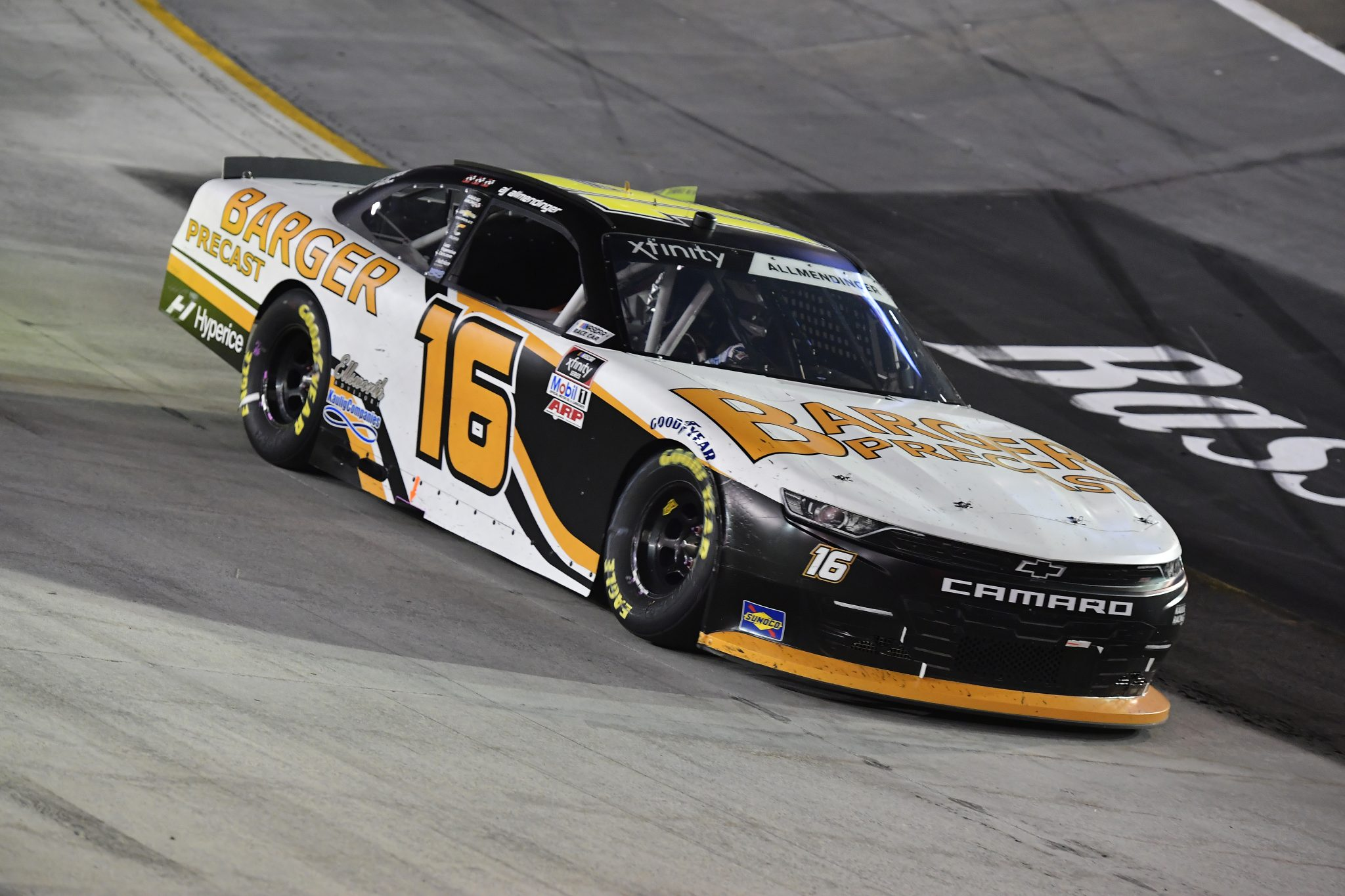 BRISTOL, TENNESSEE - SEPTEMBER 17: AJ Allmendinger, driver of the #16 Barger Precast Chevrolet, drives during the NASCAR Xfinity Series Food City 300 at Bristol Motor Speedway on September 17, 2021 in Bristol, Tennessee. (Photo by Logan Riely/Getty Images) | Getty Images