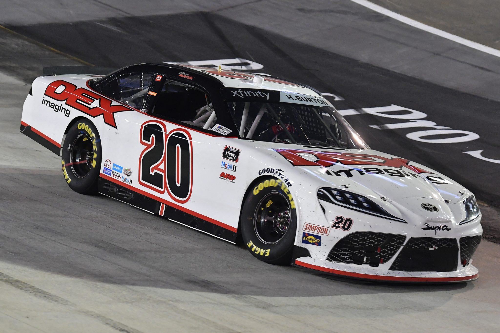 BRISTOL, TENNESSEE - SEPTEMBER 17: Harrison Burton, driver of the #20 DEX Imaging Toyota, drives during the NASCAR Xfinity Series Food City 300 at Bristol Motor Speedway on September 17, 2021 in Bristol, Tennessee. (Photo by Logan Riely/Getty Images) | Getty Images