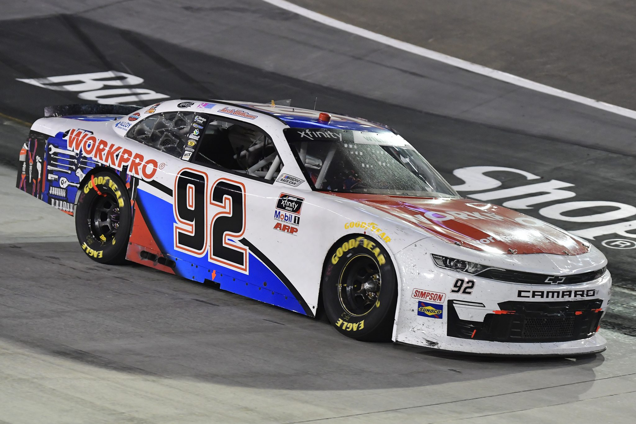 BRISTOL, TENNESSEE - SEPTEMBER 17: Josh Williams, driver of the #92 WORKPRO Tools Chevrolet, drives during the NASCAR Xfinity Series Food City 300 at Bristol Motor Speedway on September 17, 2021 in Bristol, Tennessee. (Photo by Logan Riely/Getty Images) | Getty Images