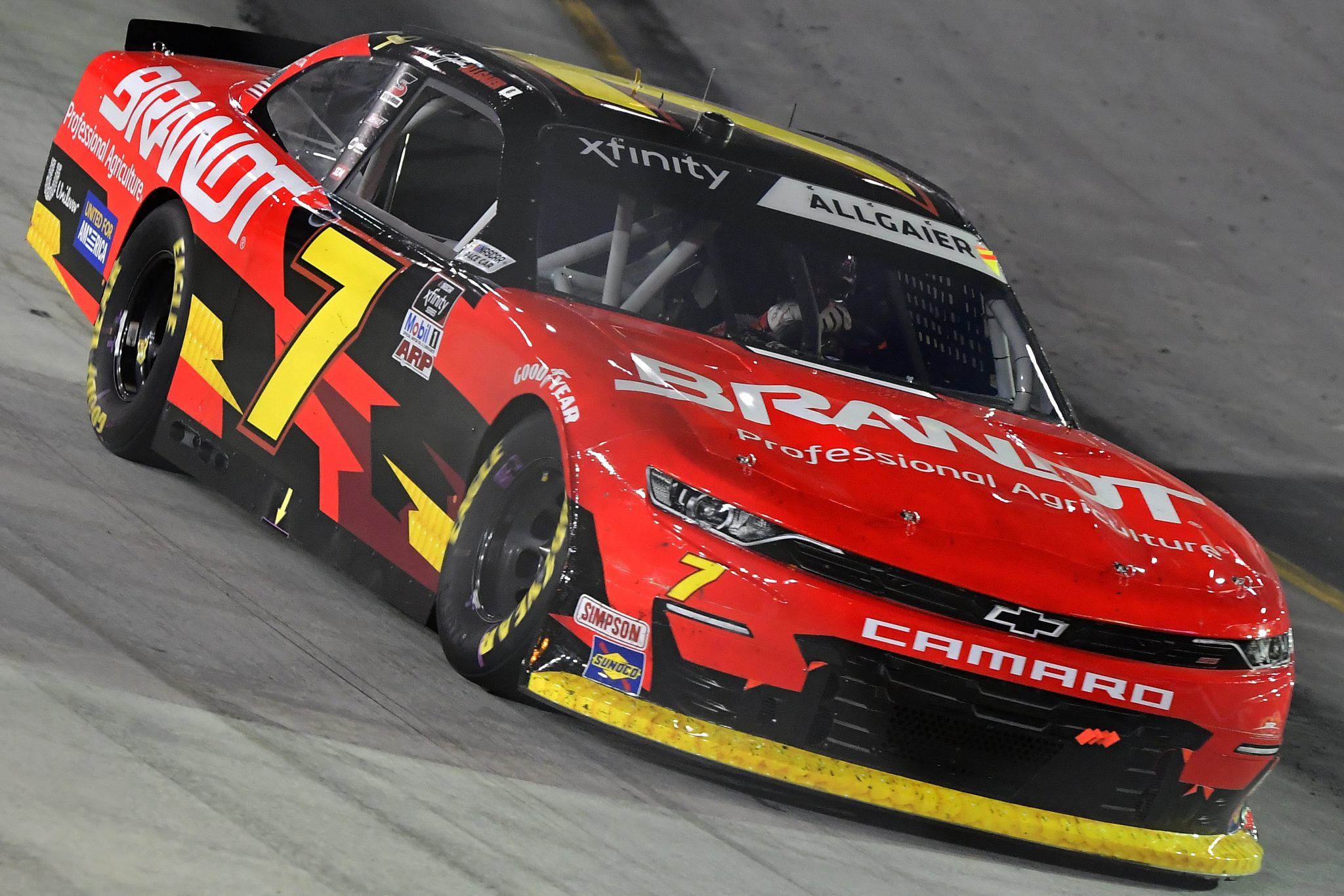 BRISTOL, TENNESSEE - SEPTEMBER 17: Justin Allgaier, driver of the #7 BRANDT Chevrolet, drives during the NASCAR Xfinity Series Food City 300 at Bristol Motor Speedway on September 17, 2021 in Bristol, Tennessee. (Photo by Logan Riely/Getty Images) | Getty Images