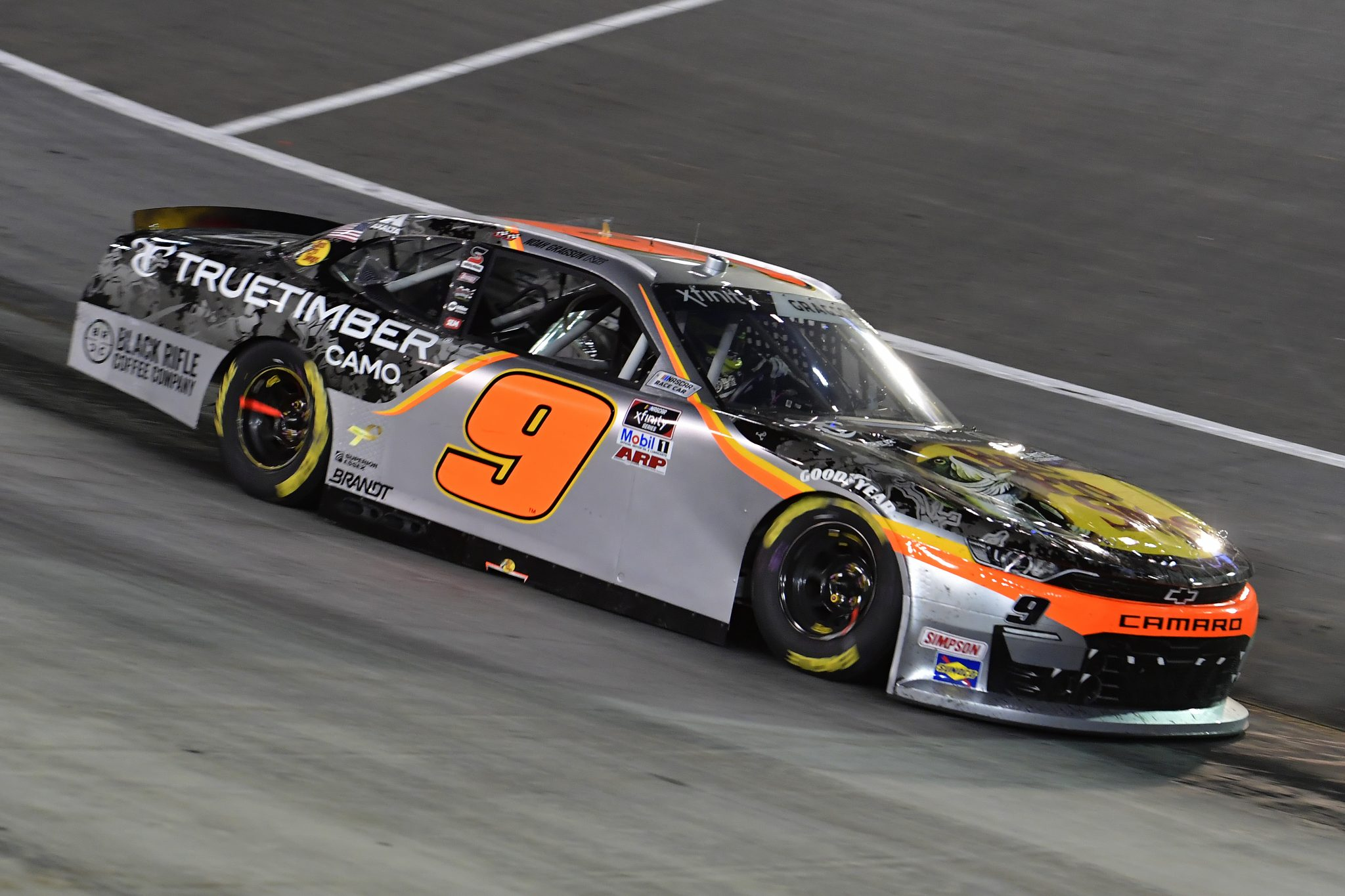 BRISTOL, TENNESSEE - SEPTEMBER 17: Noah Gragson, driver of the #9 Bass Pro Shops/TrueTimber/BRCC Chevrolet, drives during the NASCAR Xfinity Series Food City 300 at Bristol Motor Speedway on September 17, 2021 in Bristol, Tennessee. (Photo by Logan Riely/Getty Images) | Getty Images