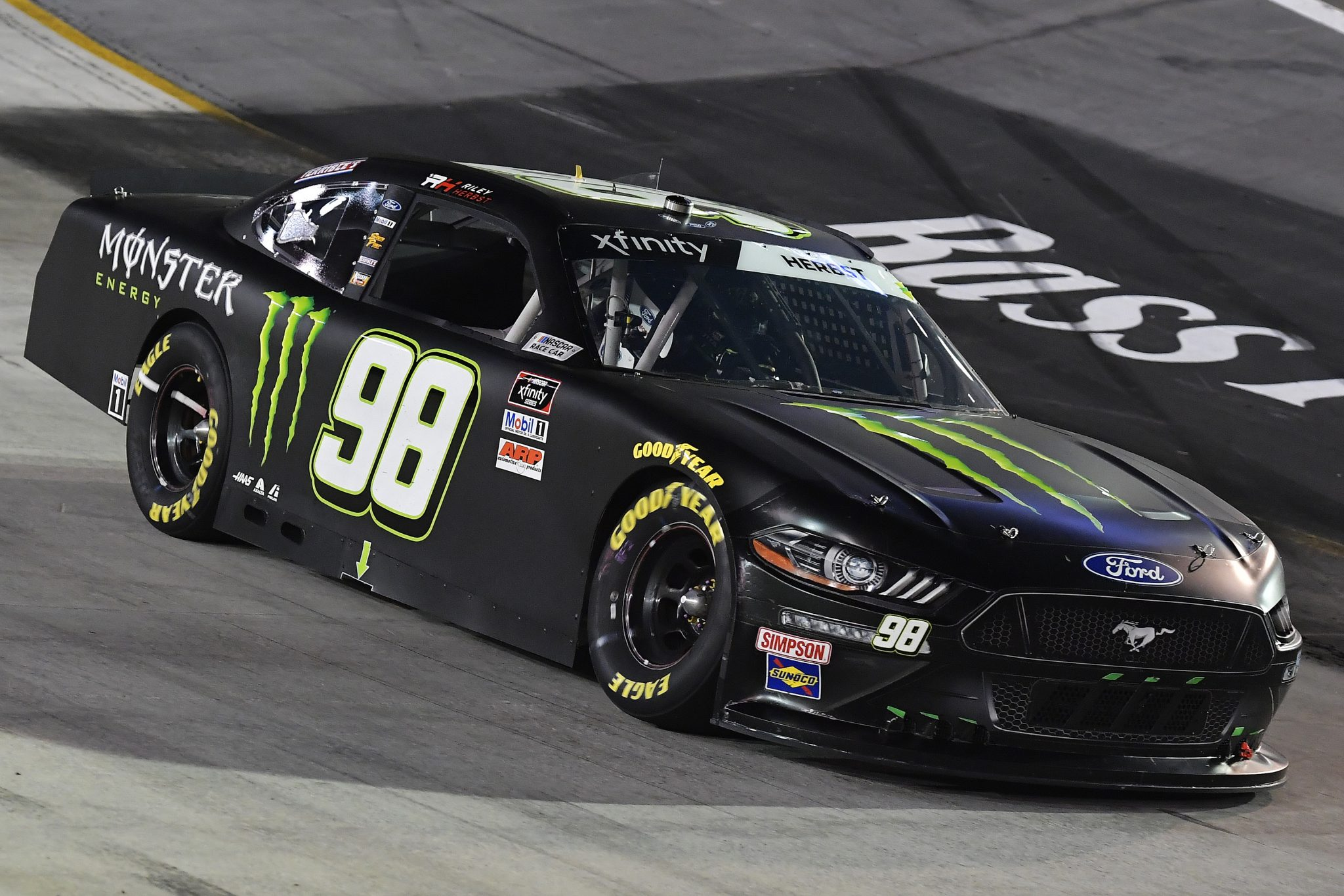 BRISTOL, TENNESSEE - SEPTEMBER 17: Riley Herbst, driver of the #98 Monster Energy Ford, drives during the NASCAR Xfinity Series Food City 300 at Bristol Motor Speedway on September 17, 2021 in Bristol, Tennessee. (Photo by Logan Riely/Getty Images) | Getty Images