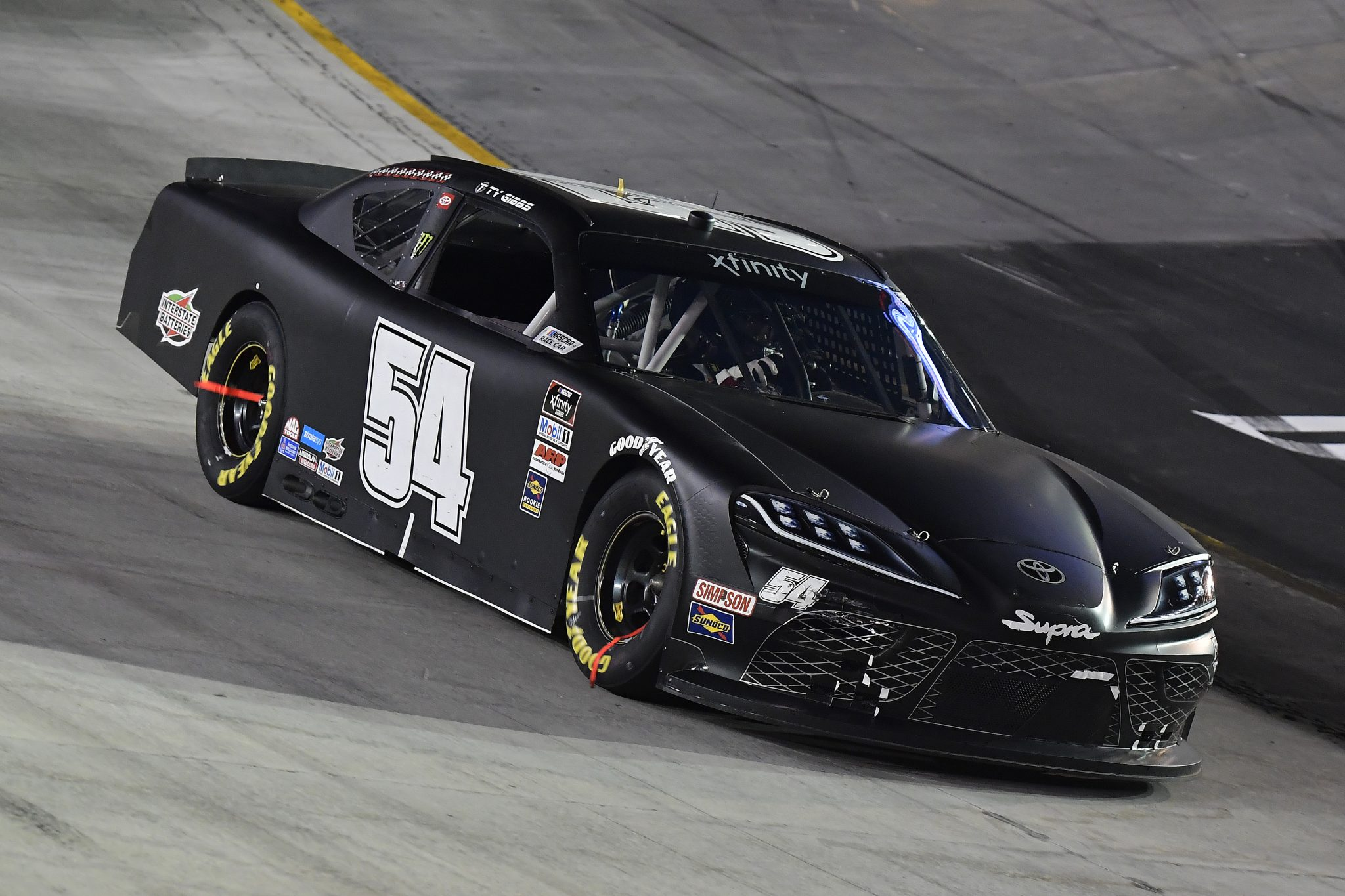 BRISTOL, TENNESSEE - SEPTEMBER 17: Ty Gibbs, driver of the #54 Joe Gibbs Racing Toyota, drives during the NASCAR Xfinity Series Food City 300 at Bristol Motor Speedway on September 17, 2021 in Bristol, Tennessee. (Photo by Logan Riely/Getty Images) | Getty Images