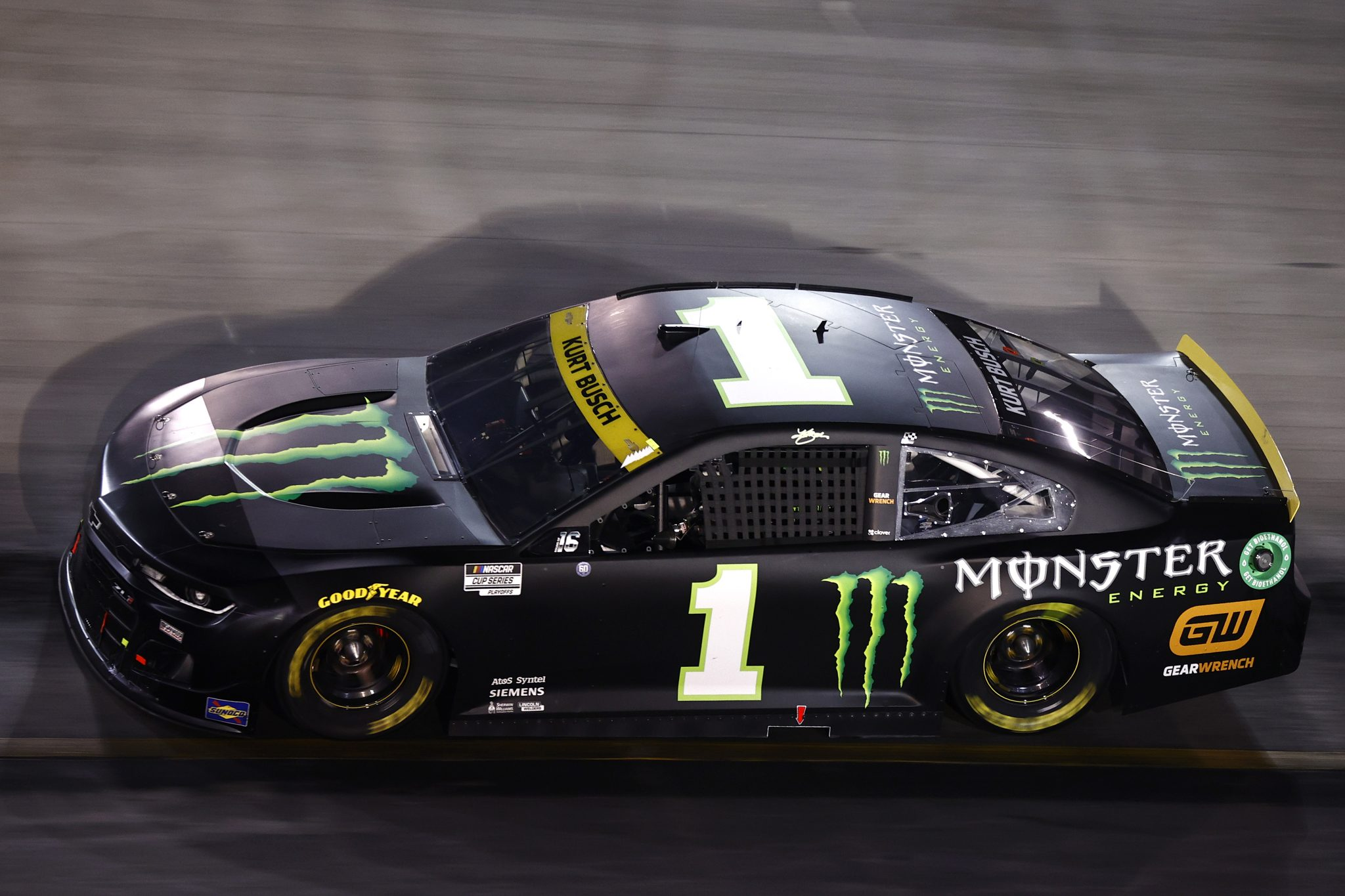 BRISTOL, TENNESSEE - SEPTEMBER 18: Kurt Busch, driver of the #1 Monster Energy Chevrolet, drives during the NASCAR Cup Series Bass Pro Shops Night Race at Bristol Motor Speedway on September 18, 2021 in Bristol, Tennessee. (Photo by Jared C. Tilton/Getty Images) | Getty Images