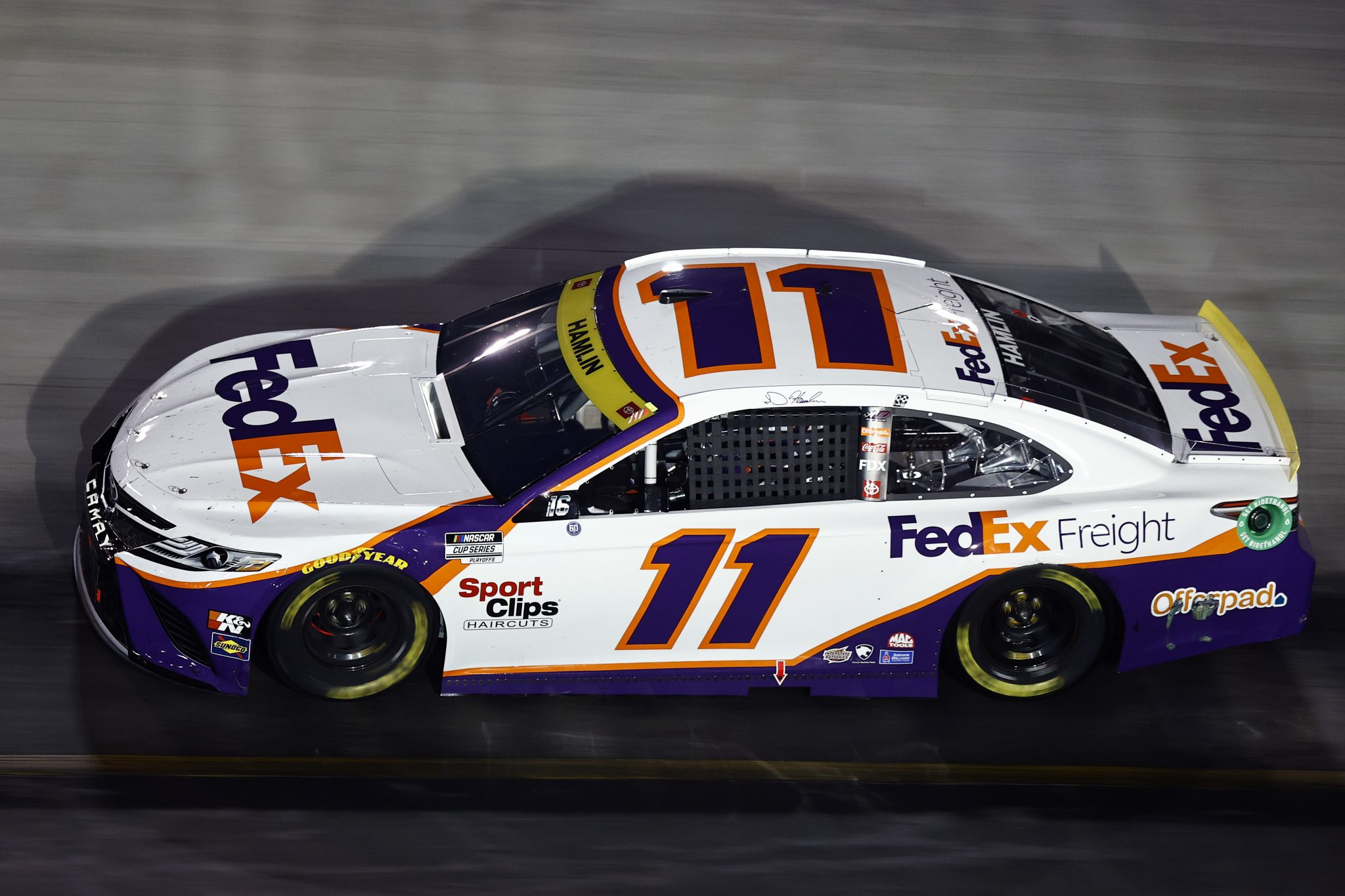 BRISTOL, TENNESSEE - SEPTEMBER 18: Denny Hamlin, driver of the #11 FedEx Freight Toyota, drives during the NASCAR Cup Series Bass Pro Shops Night Race at Bristol Motor Speedway on September 18, 2021 in Bristol, Tennessee. (Photo by Jared C. Tilton/Getty Images)   Getty Images