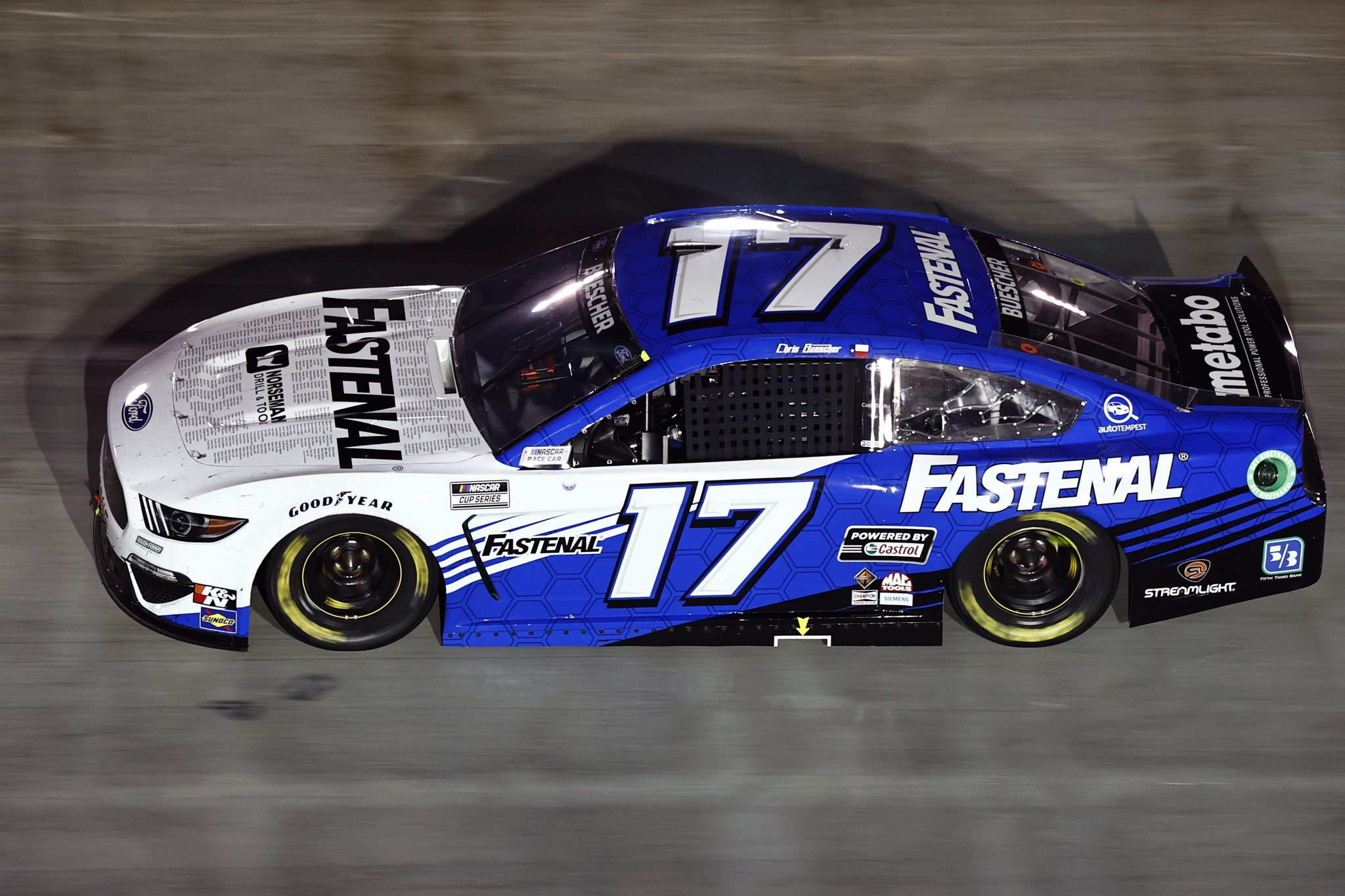 BRISTOL, TENNESSEE - SEPTEMBER 18: Chris Buescher, driver of the #17 Fastenal Ford, drives during the NASCAR Cup Series Bass Pro Shops Night Race at Bristol Motor Speedway on September 18, 2021 in Bristol, Tennessee. (Photo by Jared C. Tilton/Getty Images) | Getty Images