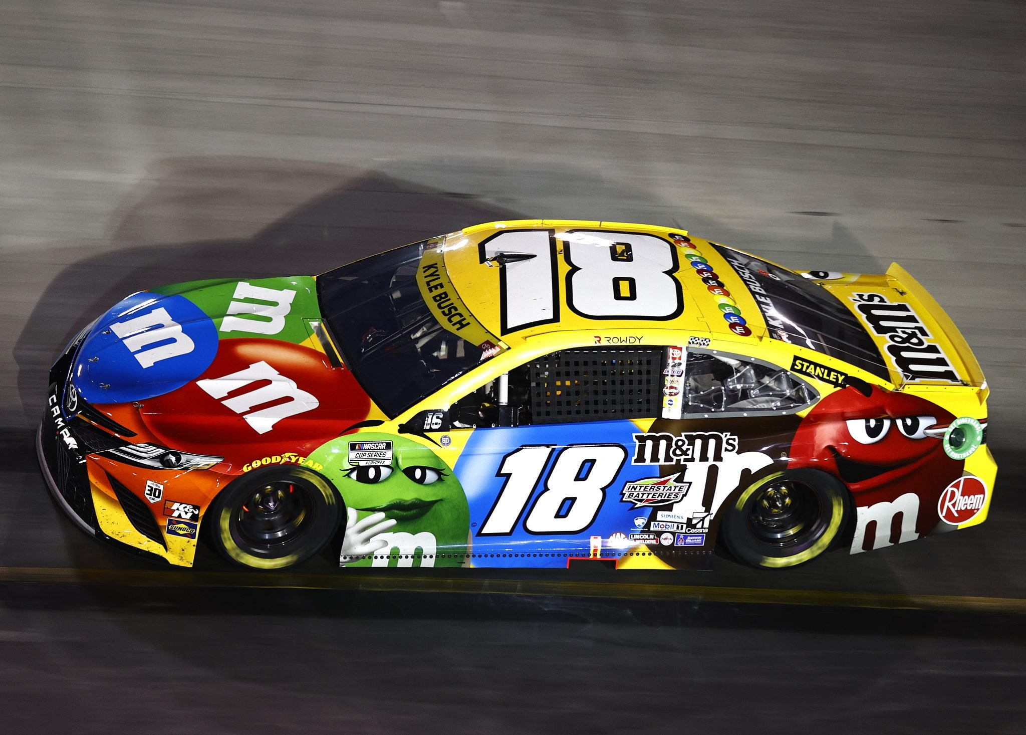 BRISTOL, TENNESSEE - SEPTEMBER 18: Kyle Busch, driver of the #18 M&M's Toyota, drives during the NASCAR Cup Series Bass Pro Shops Night Race at Bristol Motor Speedway on September 18, 2021 in Bristol, Tennessee. (Photo by Jared C. Tilton/Getty Images) | Getty Images