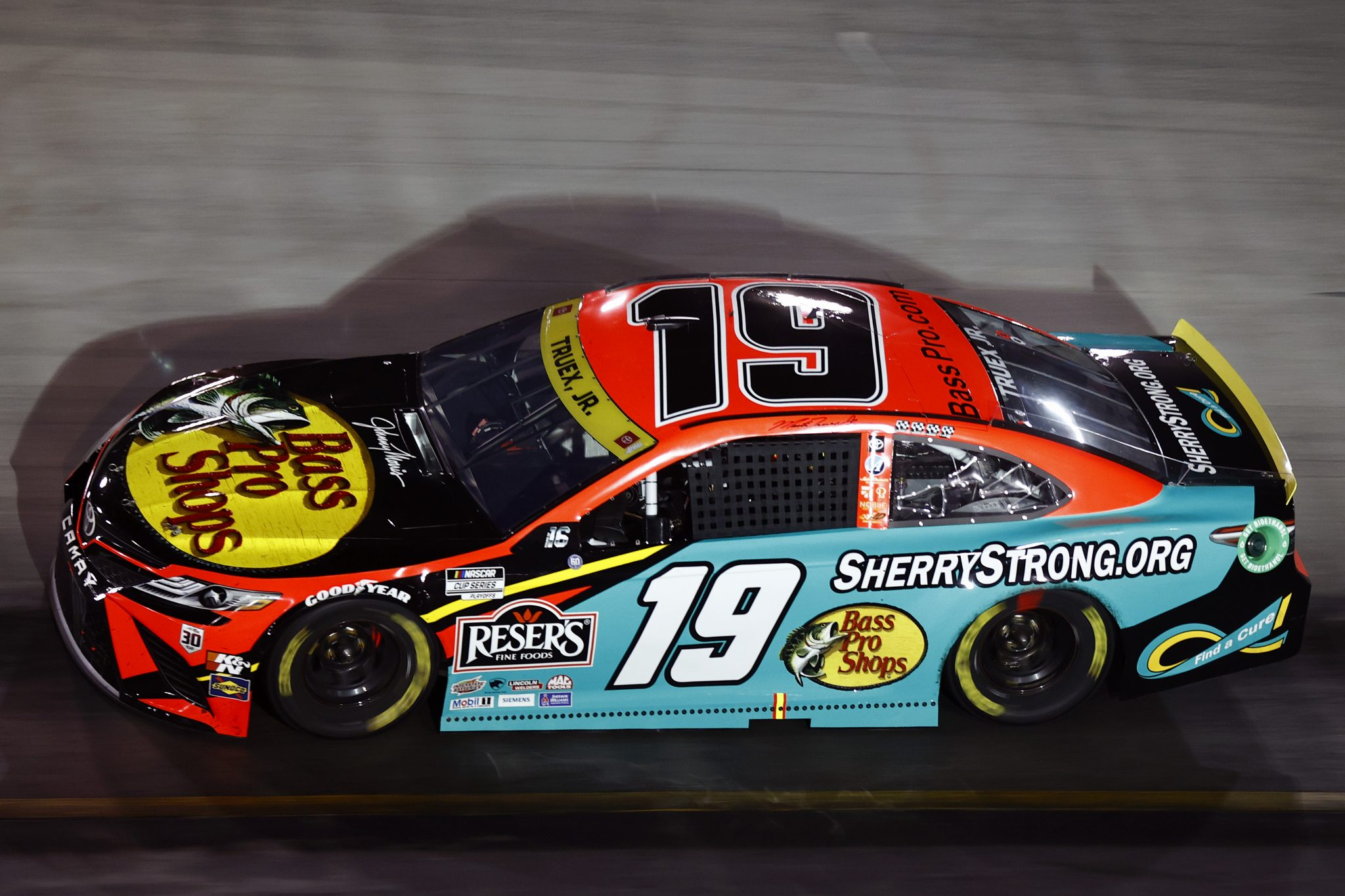 BRISTOL, TENNESSEE - SEPTEMBER 18: Martin Truex Jr., driver of the #19 Bass Pro Shops/SherryStrong.org Toyota, drives during the NASCAR Cup Series Bass Pro Shops Night Race at Bristol Motor Speedway on September 18, 2021 in Bristol, Tennessee. (Photo by Jared C. Tilton/Getty Images) | Getty Images