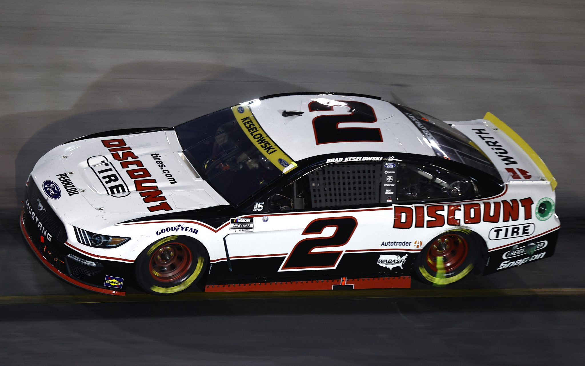 BRISTOL, TENNESSEE - SEPTEMBER 18: Brad Keselowski, driver of the #2 Discount Tire Ford, drives during the NASCAR Cup Series Bass Pro Shops Night Race at Bristol Motor Speedway on September 18, 2021 in Bristol, Tennessee. (Photo by Jared C. Tilton/Getty Images)   Getty Images