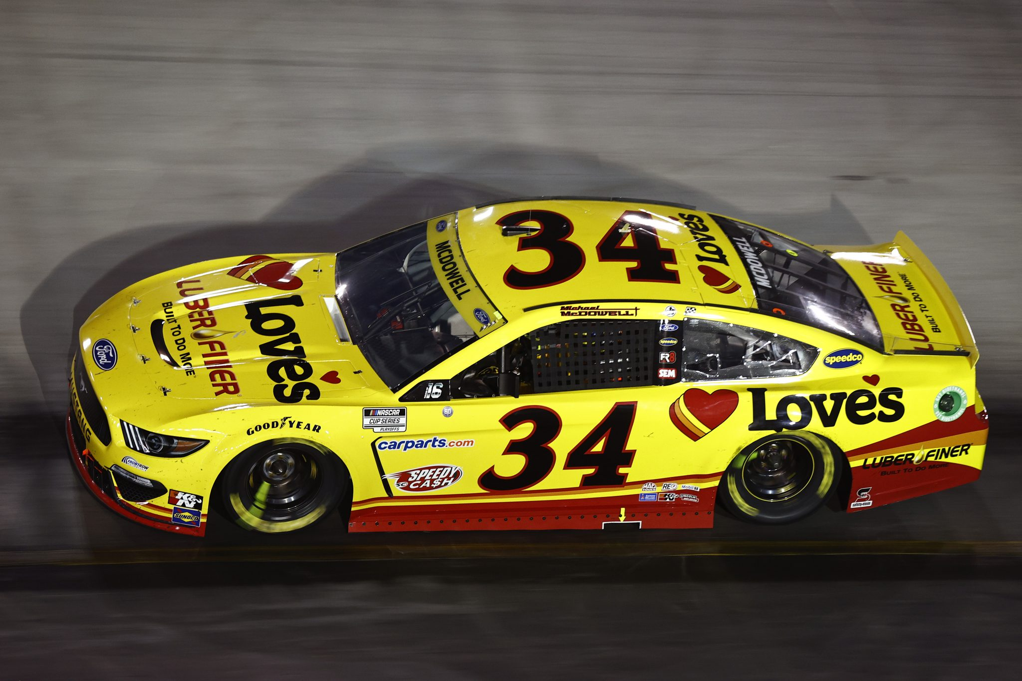 BRISTOL, TENNESSEE - SEPTEMBER 18: Michael McDowell, driver of the #34 Love's Travel Stops Ford, drives during the NASCAR Cup Series Bass Pro Shops Night Race at Bristol Motor Speedway on September 18, 2021 in Bristol, Tennessee. (Photo by Jared C. Tilton/Getty Images) | Getty Images