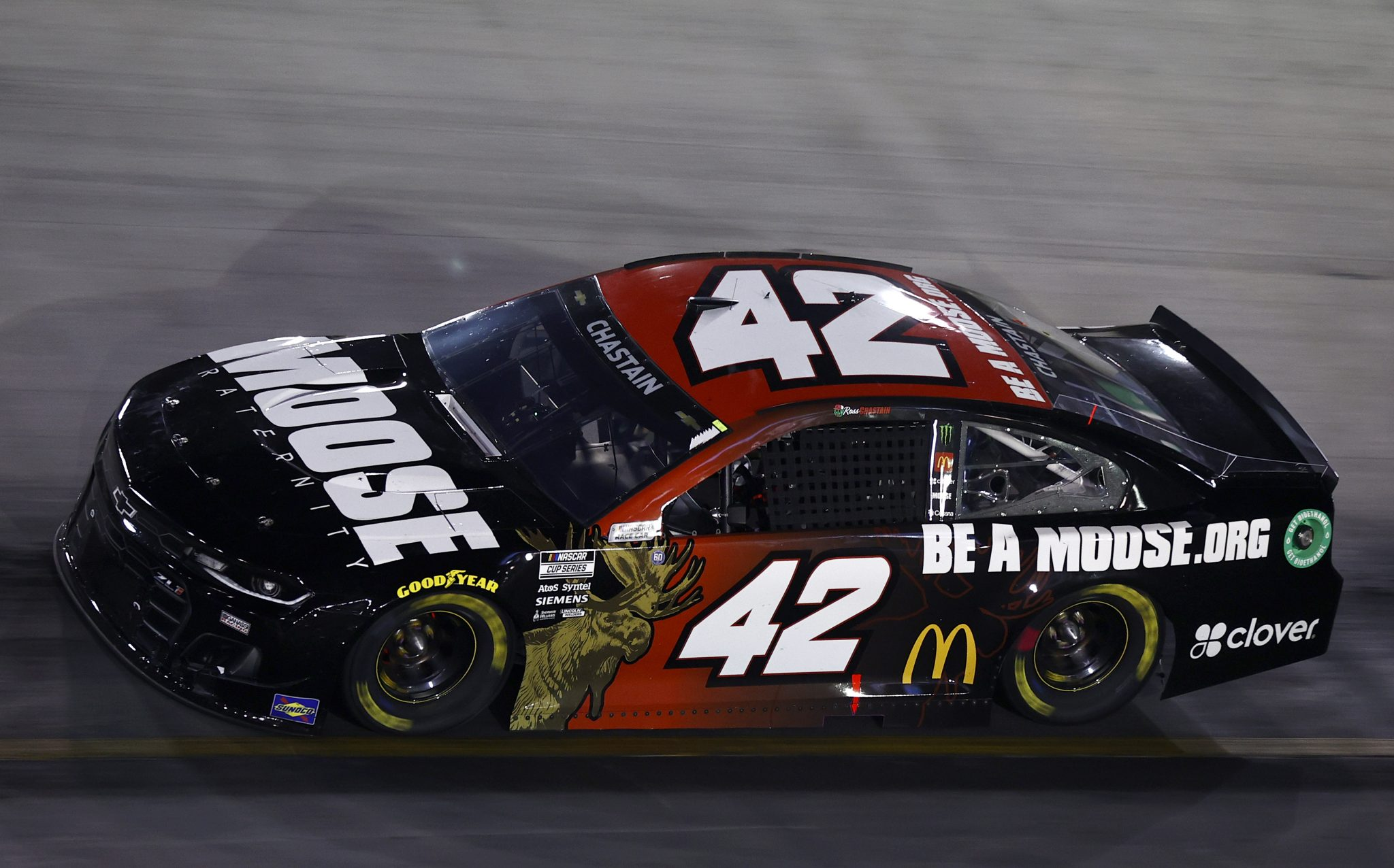 BRISTOL, TENNESSEE - SEPTEMBER 18: Ross Chastain, driver of the #42 Moose Fraternity Chevrolet, drives during the NASCAR Cup Series Bass Pro Shops Night Race at Bristol Motor Speedway on September 18, 2021 in Bristol, Tennessee. (Photo by Jared C. Tilton/Getty Images) | Getty Images