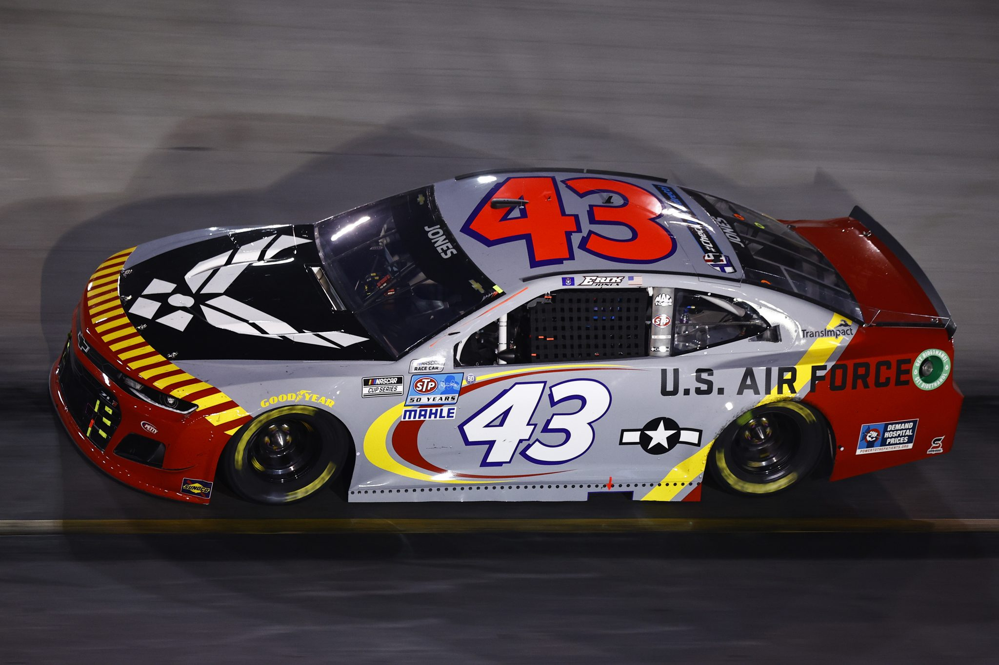 BRISTOL, TENNESSEE - SEPTEMBER 18: Erik Jones, driver of the #43 US Air Force Tuskegee Airmen Chevrolet, drives during the NASCAR Cup Series Bass Pro Shops Night Race at Bristol Motor Speedway on September 18, 2021 in Bristol, Tennessee. (Photo by Jared C. Tilton/Getty Images)   Getty Images