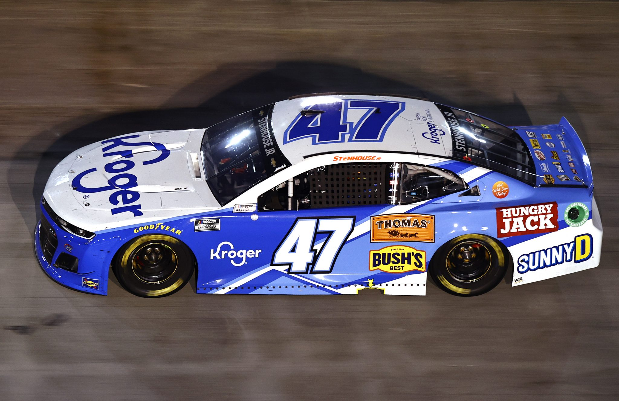 BRISTOL, TENNESSEE - SEPTEMBER 18: Ricky Stenhouse Jr., driver of the #47 Kroger Chevrolet, drives during the NASCAR Cup Series Bass Pro Shops Night Race at Bristol Motor Speedway on September 18, 2021 in Bristol, Tennessee. (Photo by Jared C. Tilton/Getty Images)   Getty Images