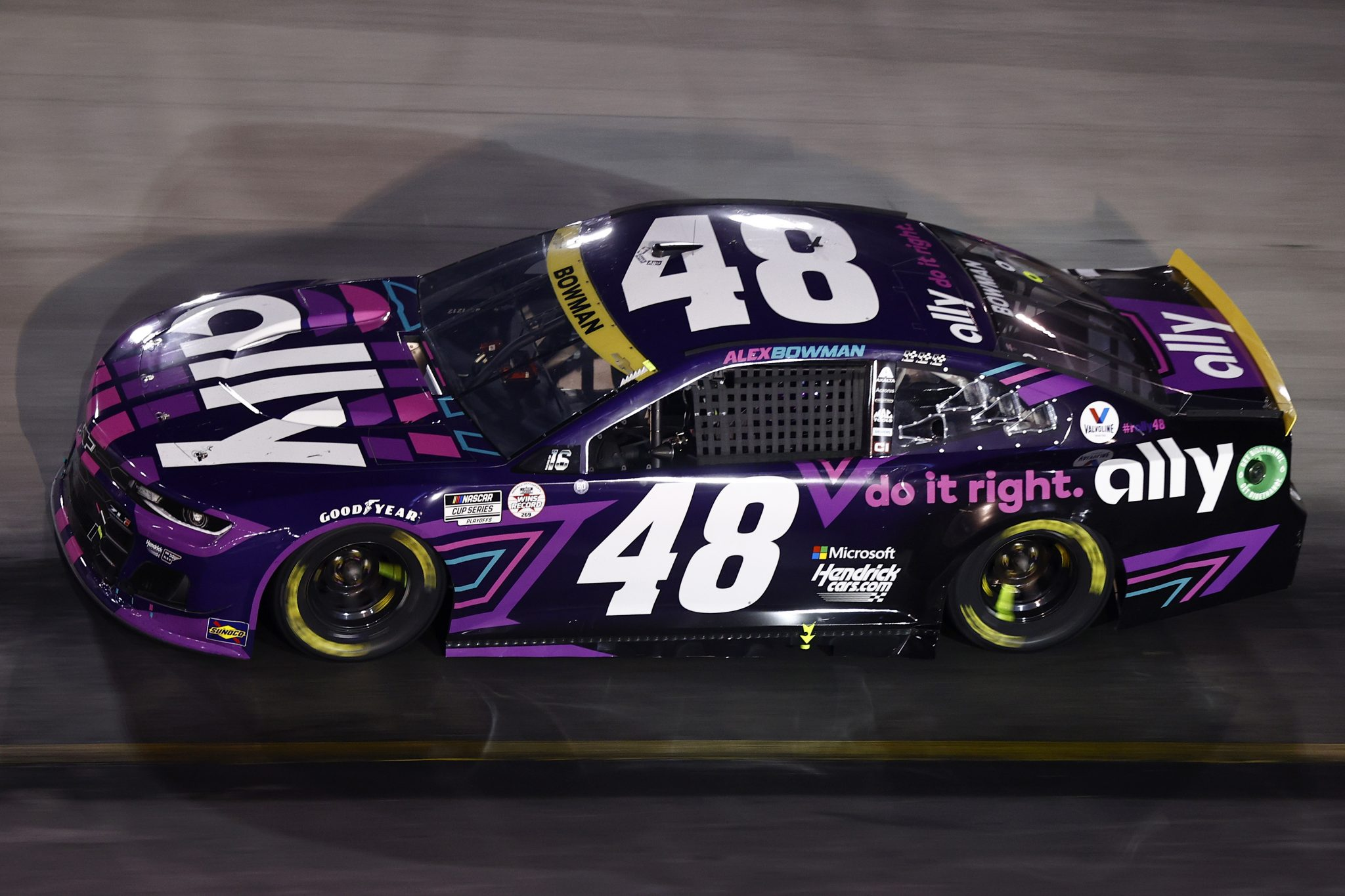 BRISTOL, TENNESSEE - SEPTEMBER 18: Alex Bowman, driver of the #48 Ally Chevrolet, drives during the NASCAR Cup Series Bass Pro Shops Night Race at Bristol Motor Speedway on September 18, 2021 in Bristol, Tennessee. (Photo by Jared C. Tilton/Getty Images) | Getty Images