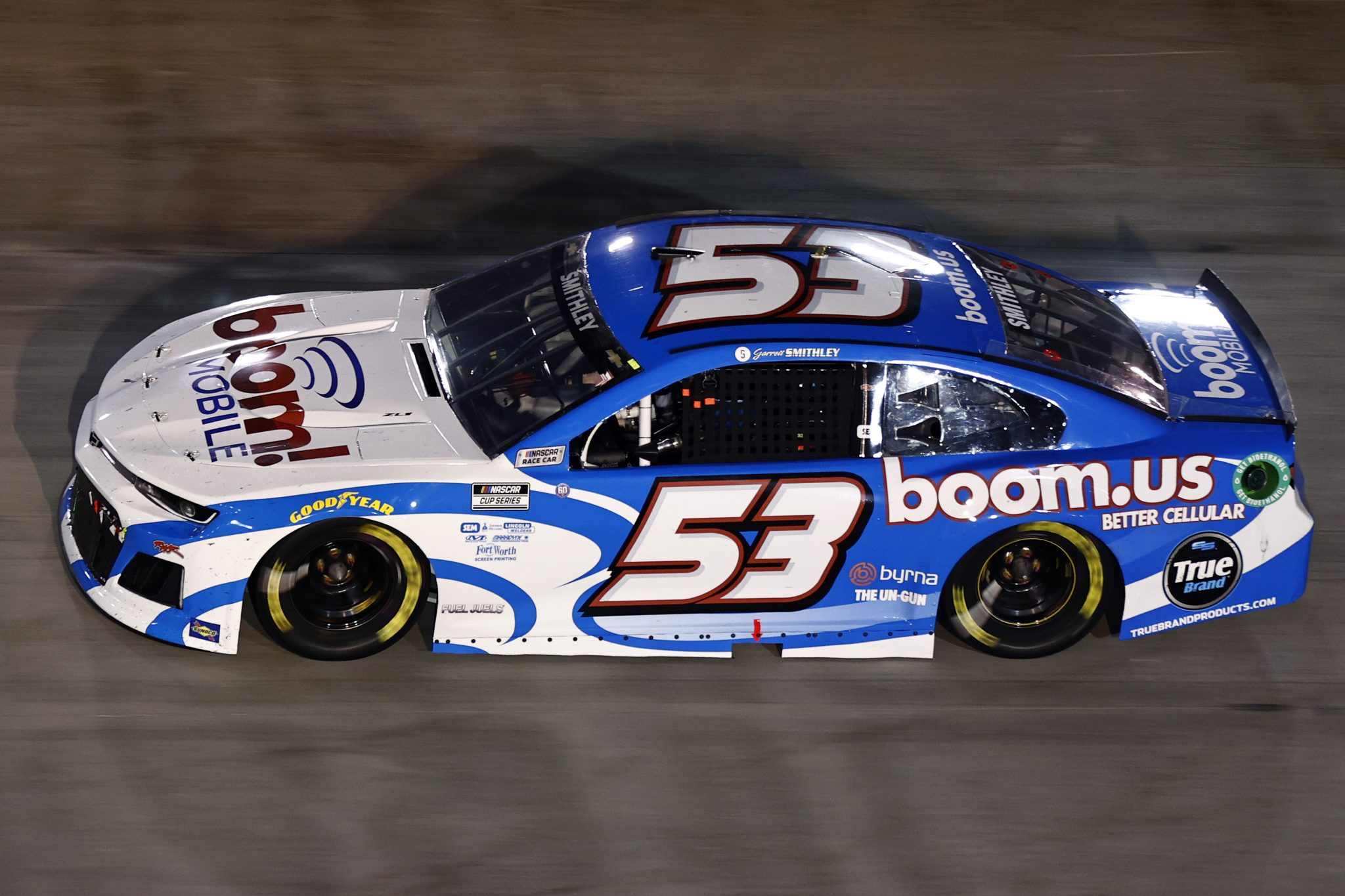 BRISTOL, TENNESSEE - SEPTEMBER 18: Garrett Smithley, driver of the #53 Boom Mobile Chevrolet, drives during the NASCAR Cup Series Bass Pro Shops Night Race at Bristol Motor Speedway on September 18, 2021 in Bristol, Tennessee. (Photo by Jared C. Tilton/Getty Images) | Getty Images