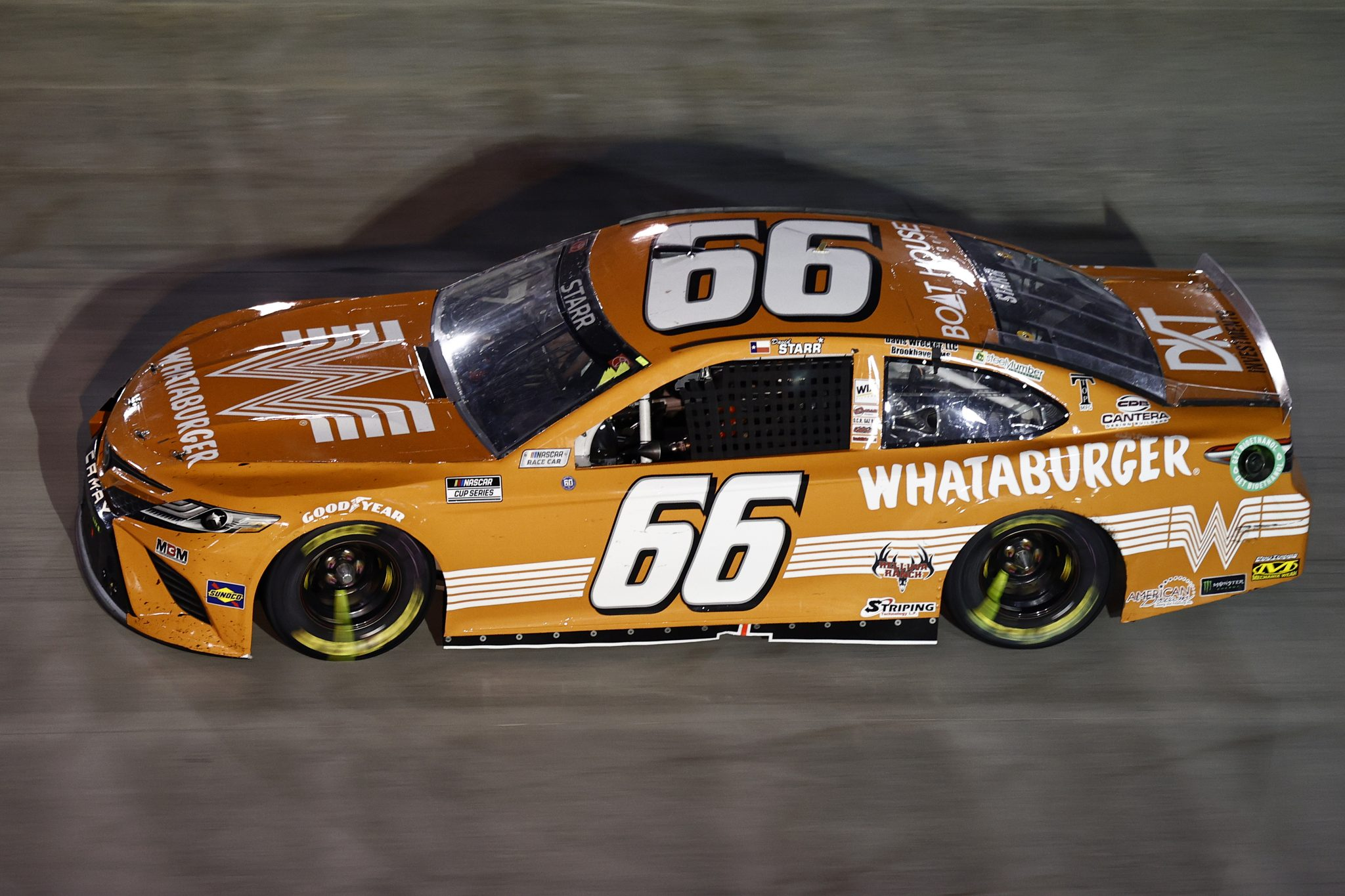 BRISTOL, TENNESSEE - SEPTEMBER 18: David Starr, driver of the #66 Whataburger Toyota, drives during the NASCAR Cup Series Bass Pro Shops Night Race at Bristol Motor Speedway on September 18, 2021 in Bristol, Tennessee. (Photo by Jared C. Tilton/Getty Images) | Getty Images