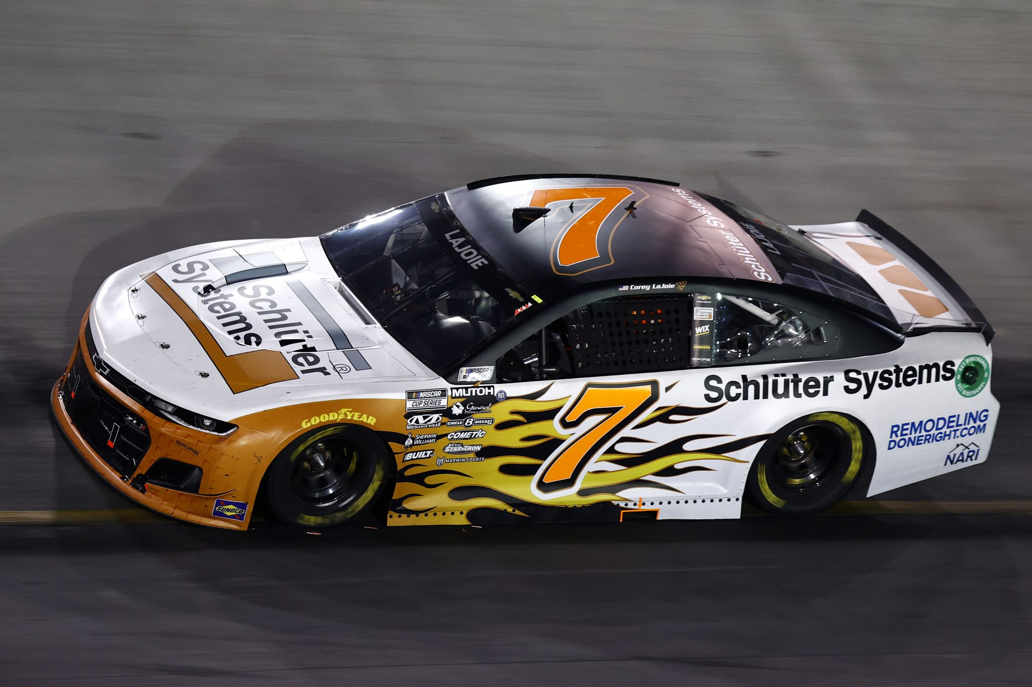 BRISTOL, TENNESSEE - SEPTEMBER 18: Corey LaJoie, driver of the #7 Schluter Systems Chevrolet, drives during the NASCAR Cup Series Bass Pro Shops Night Race at Bristol Motor Speedway on September 18, 2021 in Bristol, Tennessee. (Photo by Jared C. Tilton/Getty Images)   Getty Images