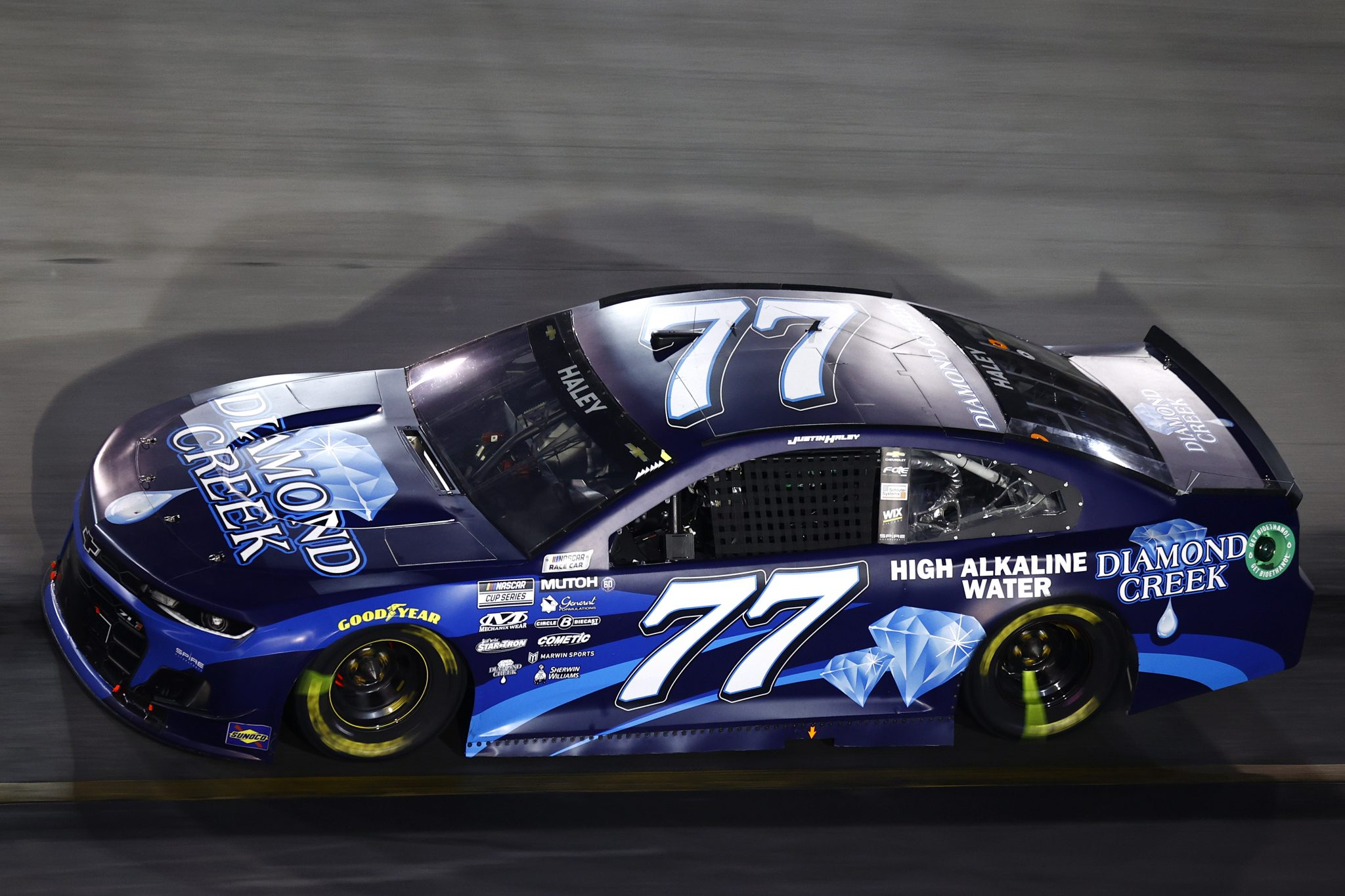 BRISTOL, TENNESSEE - SEPTEMBER 18: Justin Haley, driver of the #77 Diamond Creek Water Chevrolet, drives during the NASCAR Cup Series Bass Pro Shops Night Race at Bristol Motor Speedway on September 18, 2021 in Bristol, Tennessee. (Photo by Jared C. Tilton/Getty Images) | Getty Images