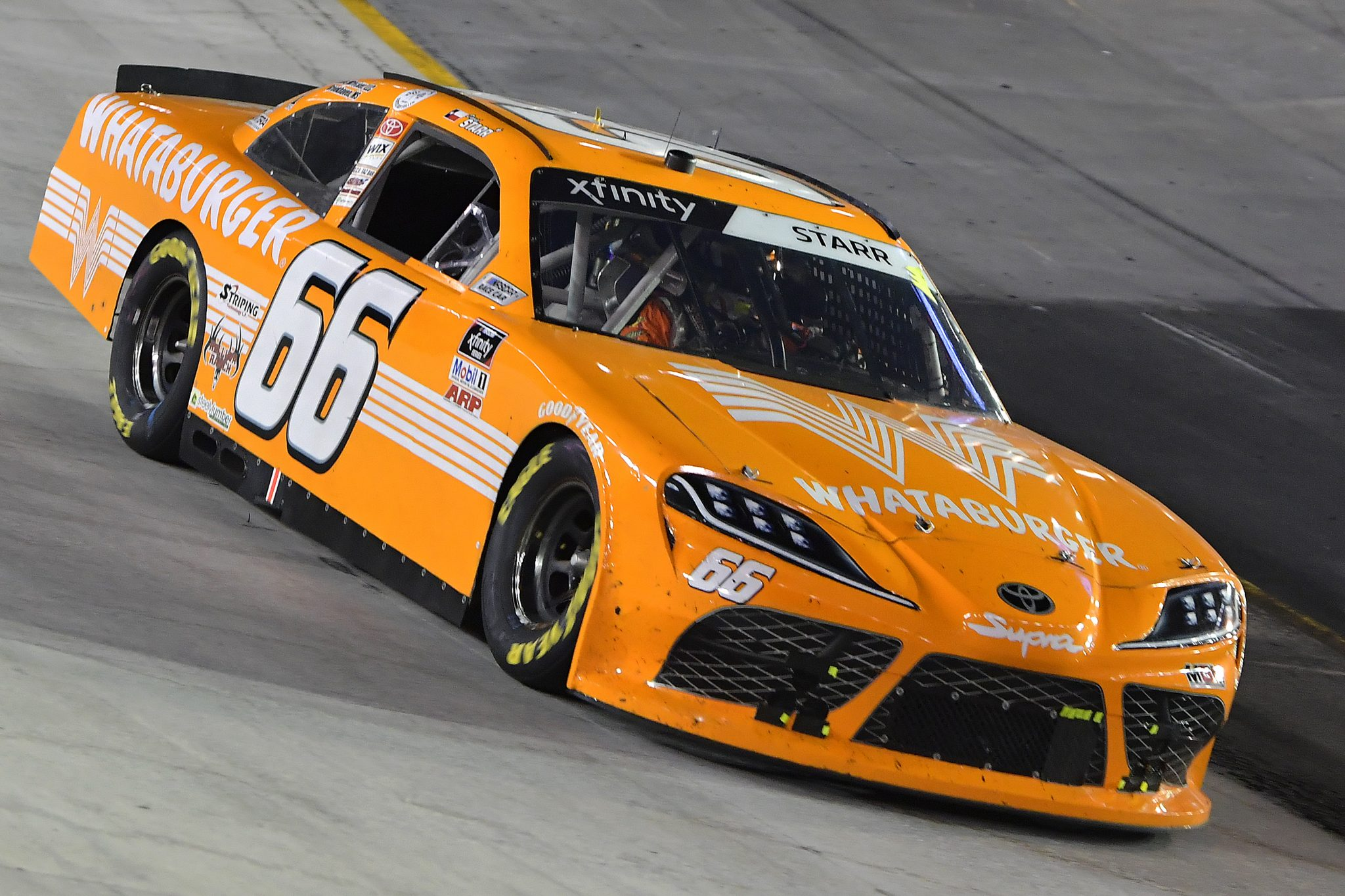 BRISTOL, TENNESSEE - SEPTEMBER 17: David Starr, driver of the #66 Whataburger Toyota, drives during the NASCAR Xfinity Series Food City 300 at Bristol Motor Speedway on September 17, 2021 in Bristol, Tennessee. (Photo by Logan Riely/Getty Images) | Getty Images