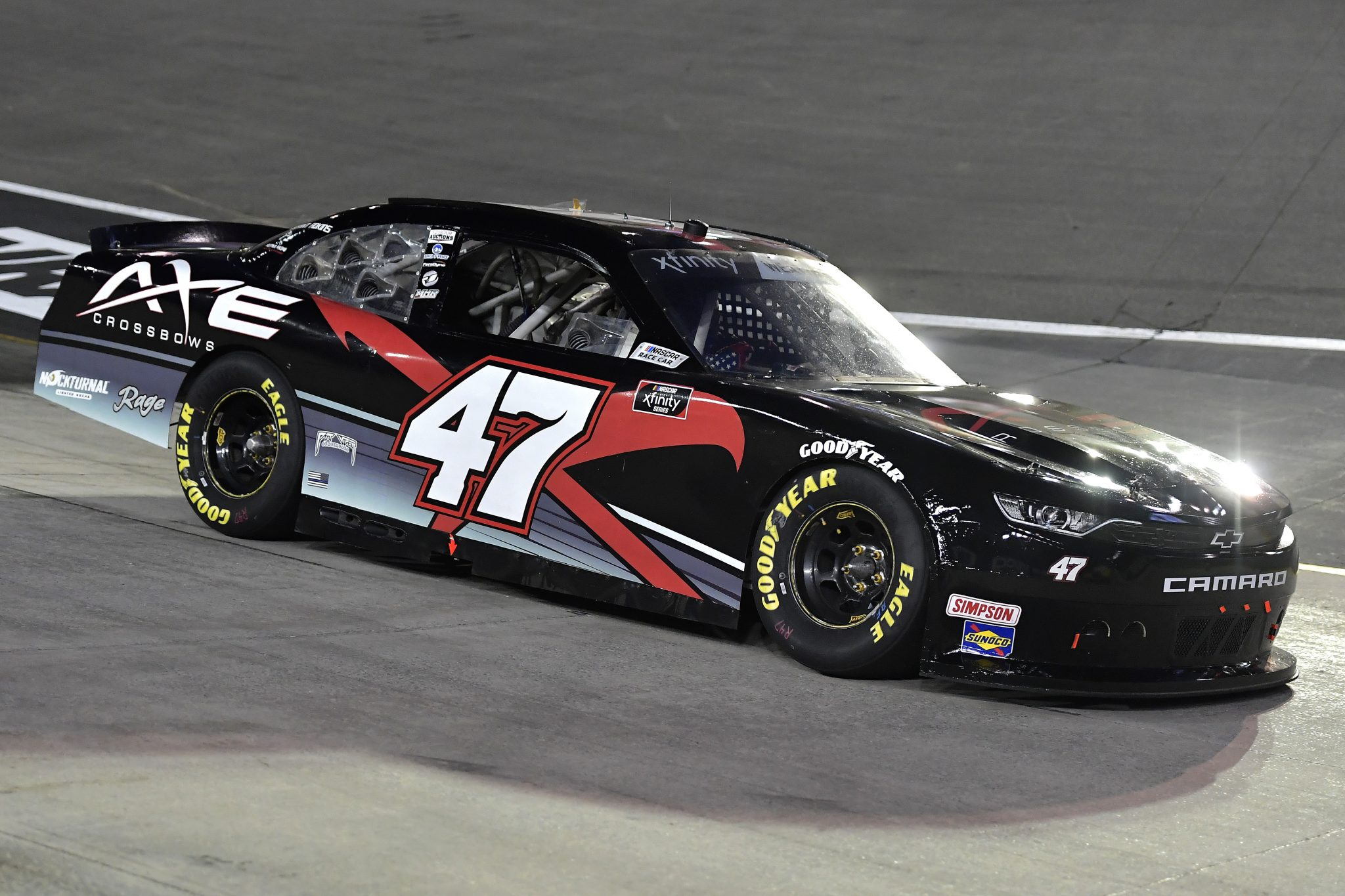 BRISTOL, TENNESSEE - SEPTEMBER 17: Kyle Weatherman, driver of the #47 Axe Crossbows Chevrolet, drives during the NASCAR Xfinity Series Food City 300 at Bristol Motor Speedway on September 17, 2021 in Bristol, Tennessee. (Photo by Logan Riely/Getty Images) | Getty Images