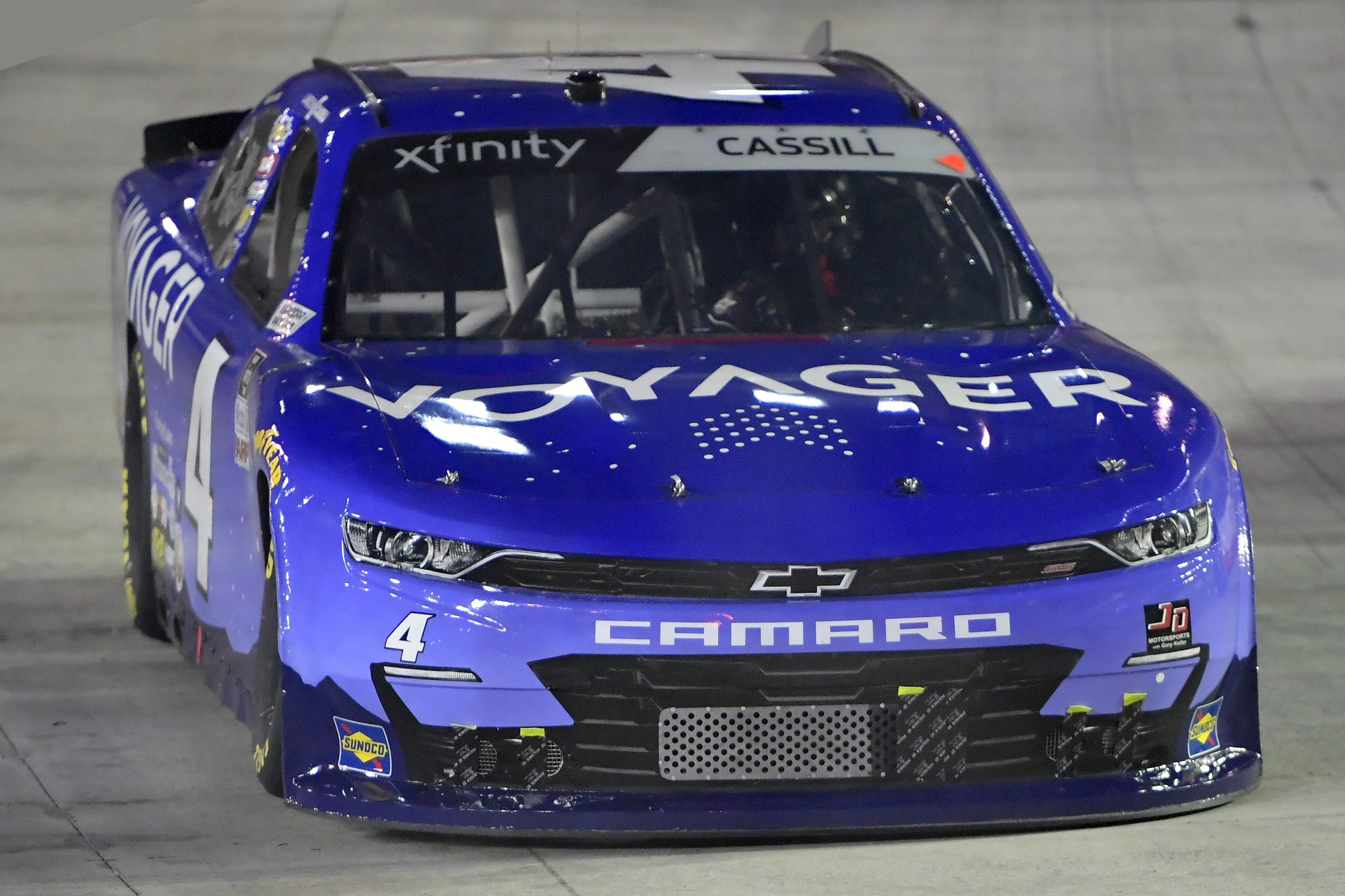 BRISTOL, TENNESSEE - SEPTEMBER 17: Landon Cassill, driver of the #4 Voyager Chevrolet, drives during the NASCAR Xfinity Series Food City 300 at Bristol Motor Speedway on September 17, 2021 in Bristol, Tennessee. (Photo by Logan Riely/Getty Images) | Getty Images