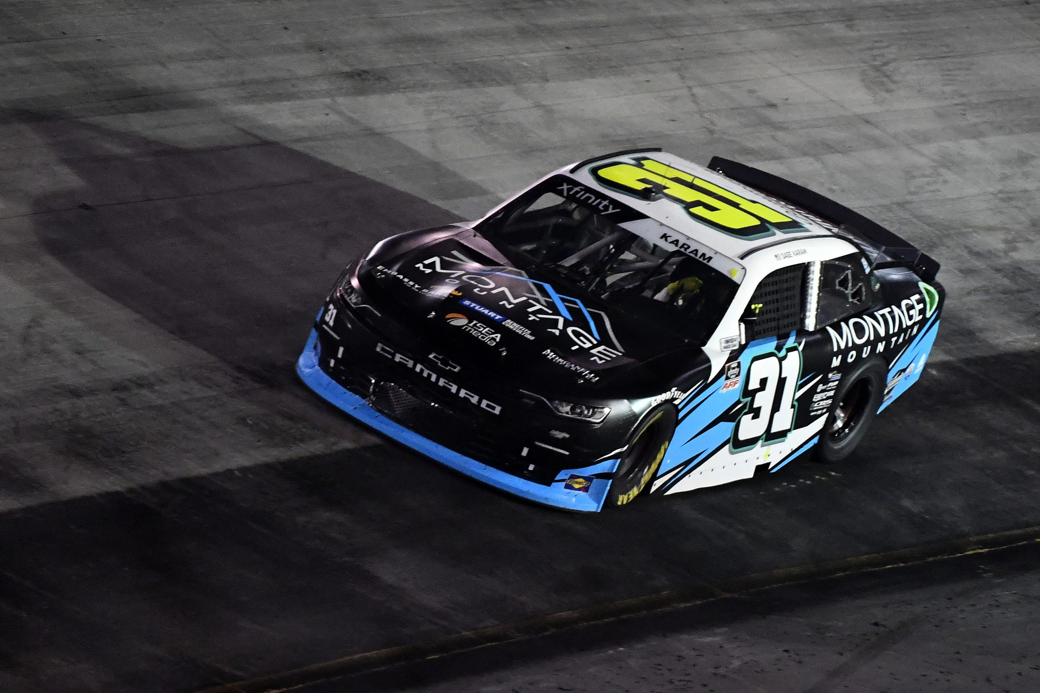 BRISTOL, TENNESSEE - SEPTEMBER 17: Sage Karam, driver of the #31 Montage Mountain Chevrolet, drives during the NASCAR Xfinity Series Food City 300 at Bristol Motor Speedway on September 17, 2021 in Bristol, Tennessee. (Photo by Logan Riely/Getty Images) | Getty Images