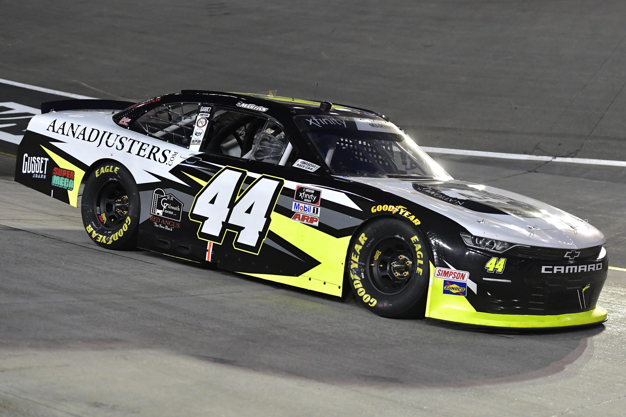 BRISTOL, TENNESSEE - SEPTEMBER 17: Tommy Joe Martins, driver of the #44 AAN Adjusters Chevrolet, drives during the NASCAR Xfinity Series Food City 300 at Bristol Motor Speedway on September 17, 2021 in Bristol, Tennessee. (Photo by Logan Riely/Getty Images) | Getty Images
