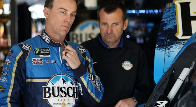 HAMPTON, GA - FEBRUARY 22:  Kevin Harvick, driver of the #4 Busch Beer Ford, talks with crew chief Rodney Childers during practice for the Monster Energy NASCAR Cup Series Folds of Honor Quiktrip 500 at Atlanta Motor Speedway on February 22, 2019 in Hampton, Georgia.  (Photo by Chris Graythen/Getty Images)   Getty Images