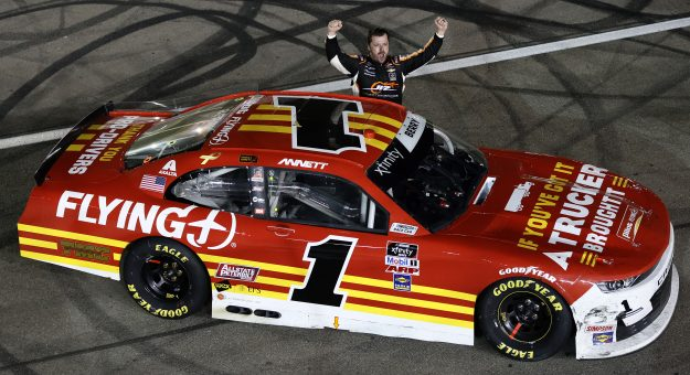 LAS VEGAS, NEVADA - SEPTEMBER 25: Josh Berry, driver of the #1 PFJ Thank A Trucker Chevrolet, celebrates after winning the NASCAR Xfinity Series Alsco Uniforms 302 at Las Vegas Motor Speedway on September 25, 2021 in Las Vegas, Nevada. (Photo by Steph Chambers/Getty Images) | Getty Images