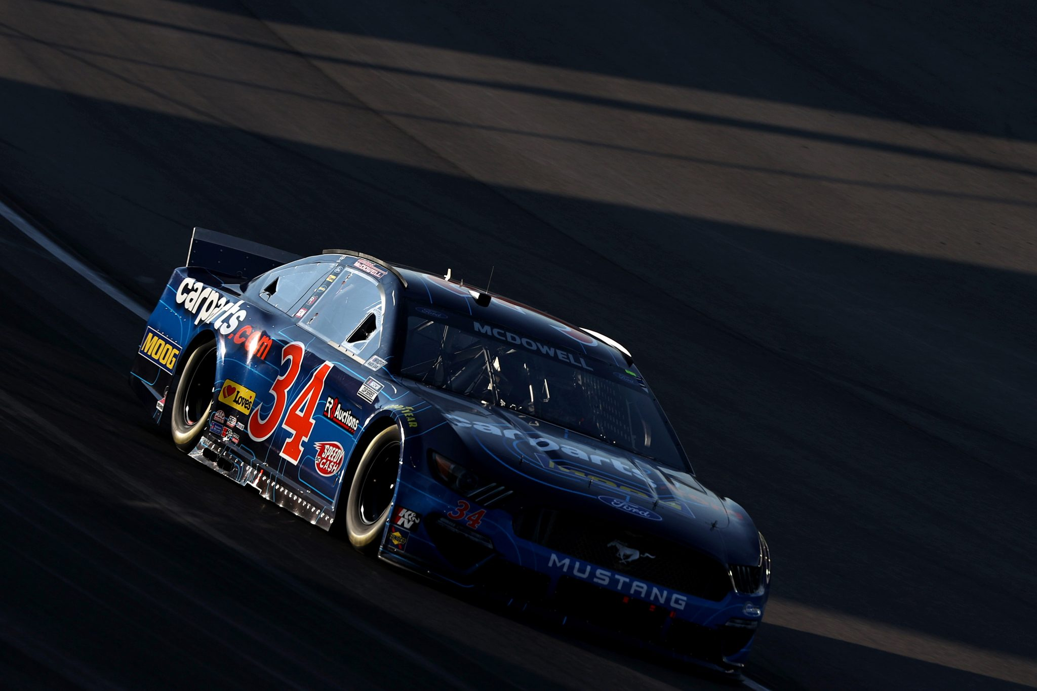 LAS VEGAS, NEVADA - SEPTEMBER 26: Michael McDowell, driver of the #34 CarParts.com Ford, drives during the NASCAR Cup Series South Point 400 at Las Vegas Motor Speedway on September 26, 2021 in Las Vegas, Nevada. (Photo by Meg Oliphant/Getty Images) | Getty Images