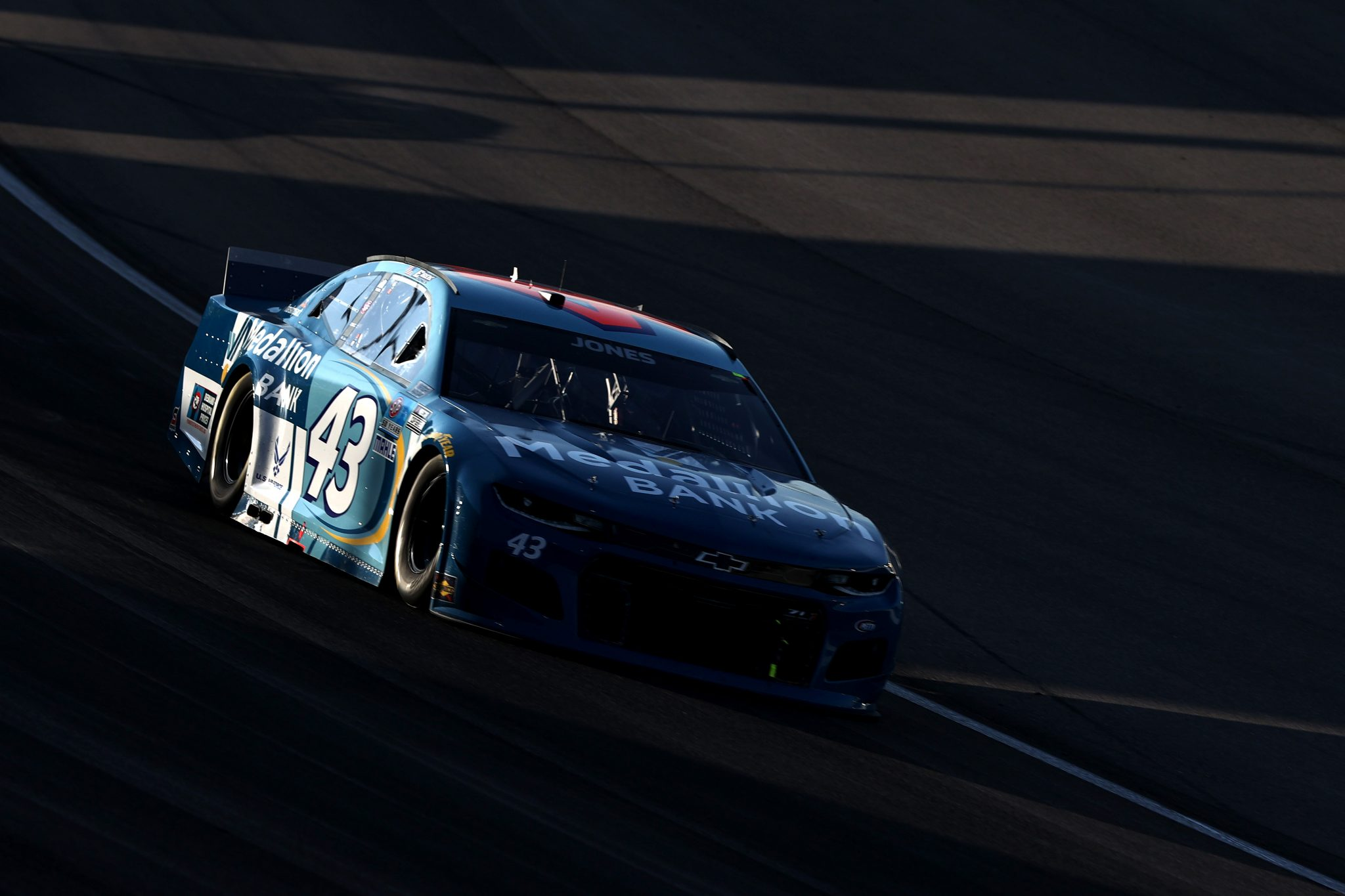 LAS VEGAS, NEVADA - SEPTEMBER 26: Erik Jones, driver of the #43 Medallion Bank Chevrolet, drives during the NASCAR Cup Series South Point 400 at Las Vegas Motor Speedway on September 26, 2021 in Las Vegas, Nevada. (Photo by Meg Oliphant/Getty Images)   Getty Images