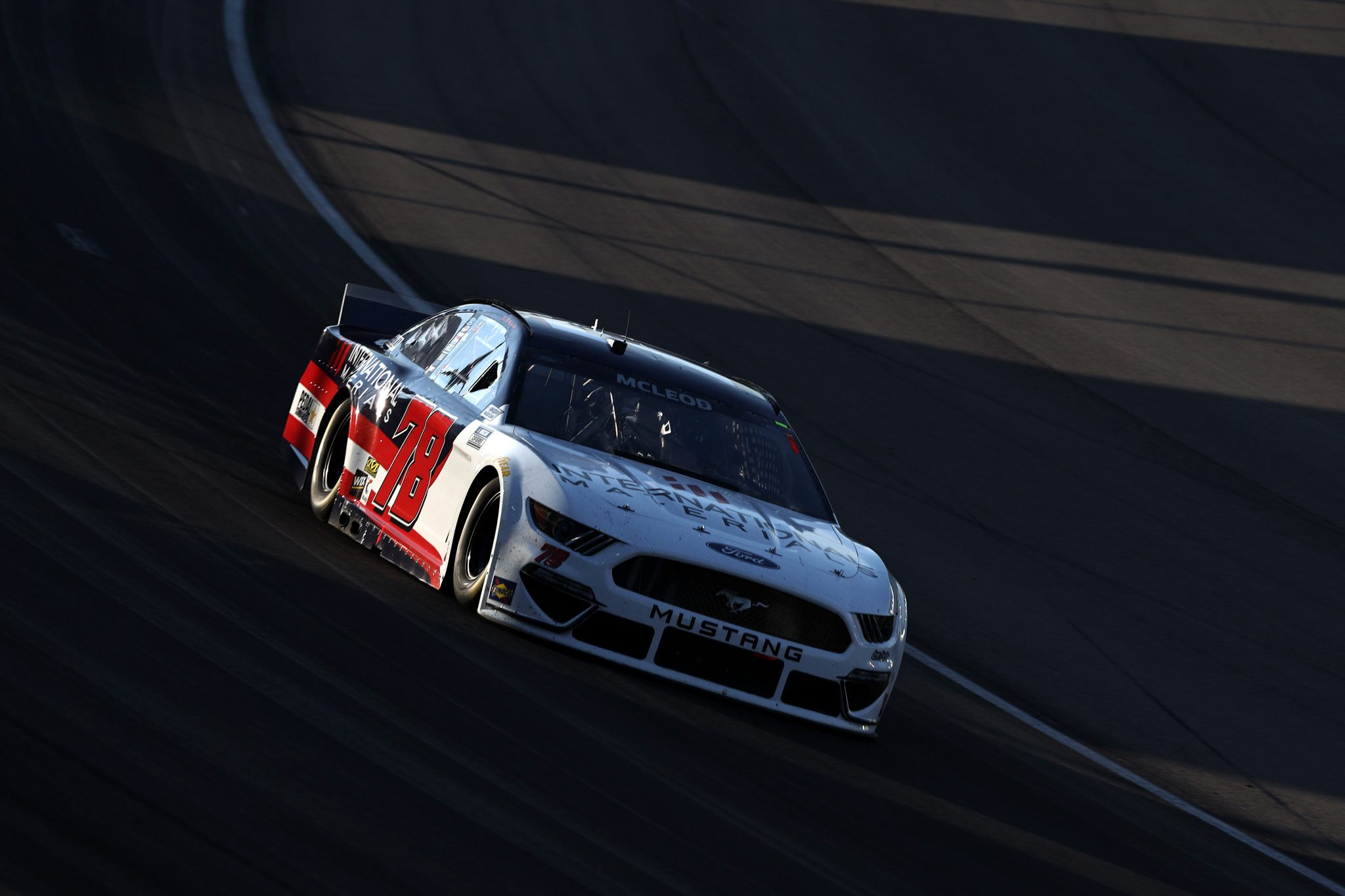 LAS VEGAS, NEVADA - SEPTEMBER 26: BJ McLeod, driver of the #78 International Materials Ford, drives during the NASCAR Cup Series South Point 400 at Las Vegas Motor Speedway on September 26, 2021 in Las Vegas, Nevada. (Photo by Meg Oliphant/Getty Images)   Getty Images