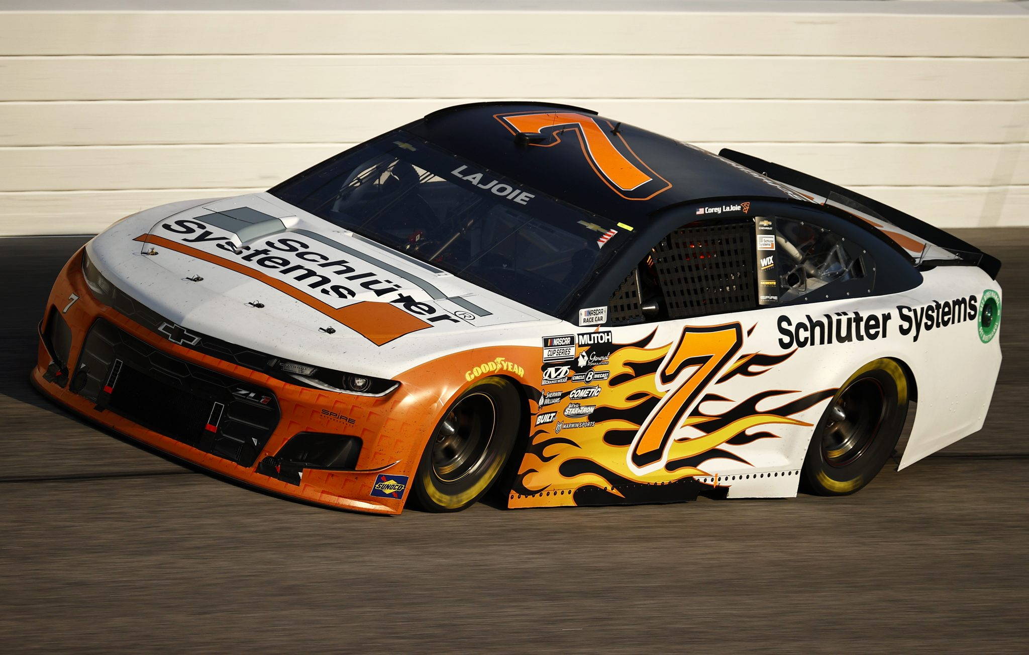 DARLINGTON, SOUTH CAROLINA - SEPTEMBER 05: Corey LaJoie, driver of the #7 Schluter Systems Chevrolet, drives during the NASCAR Cup Series Cook Out Southern 500 at Darlington Raceway on September 05, 2021 in Darlington, South Carolina. (Photo by Jared C. Tilton/Getty Images)   Getty Images